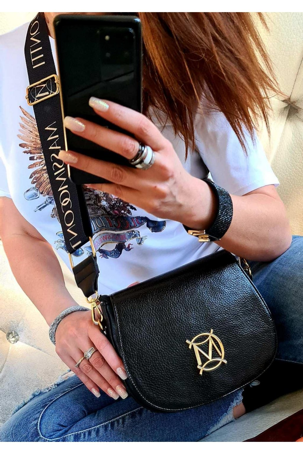 crossbody massimo contti italy style tnačková luxusní kabelka menší black