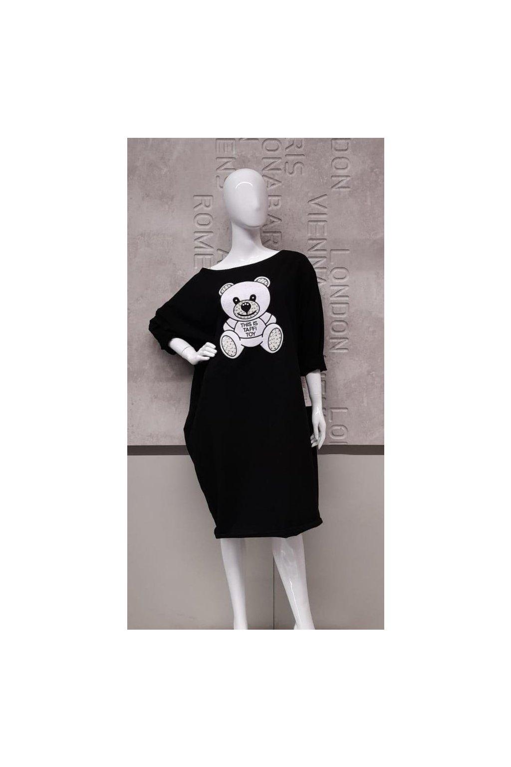 Mikinová tunika s medvidkem černá nadměrná velikost
