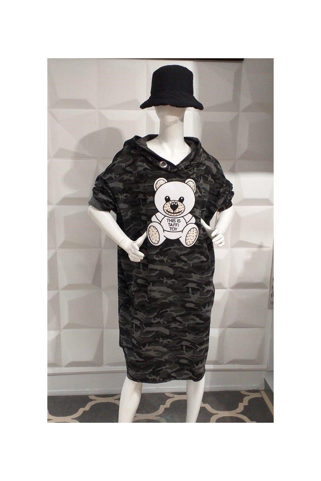 Mikinová tunika s medvidkem maskáčová nadměrná velikost