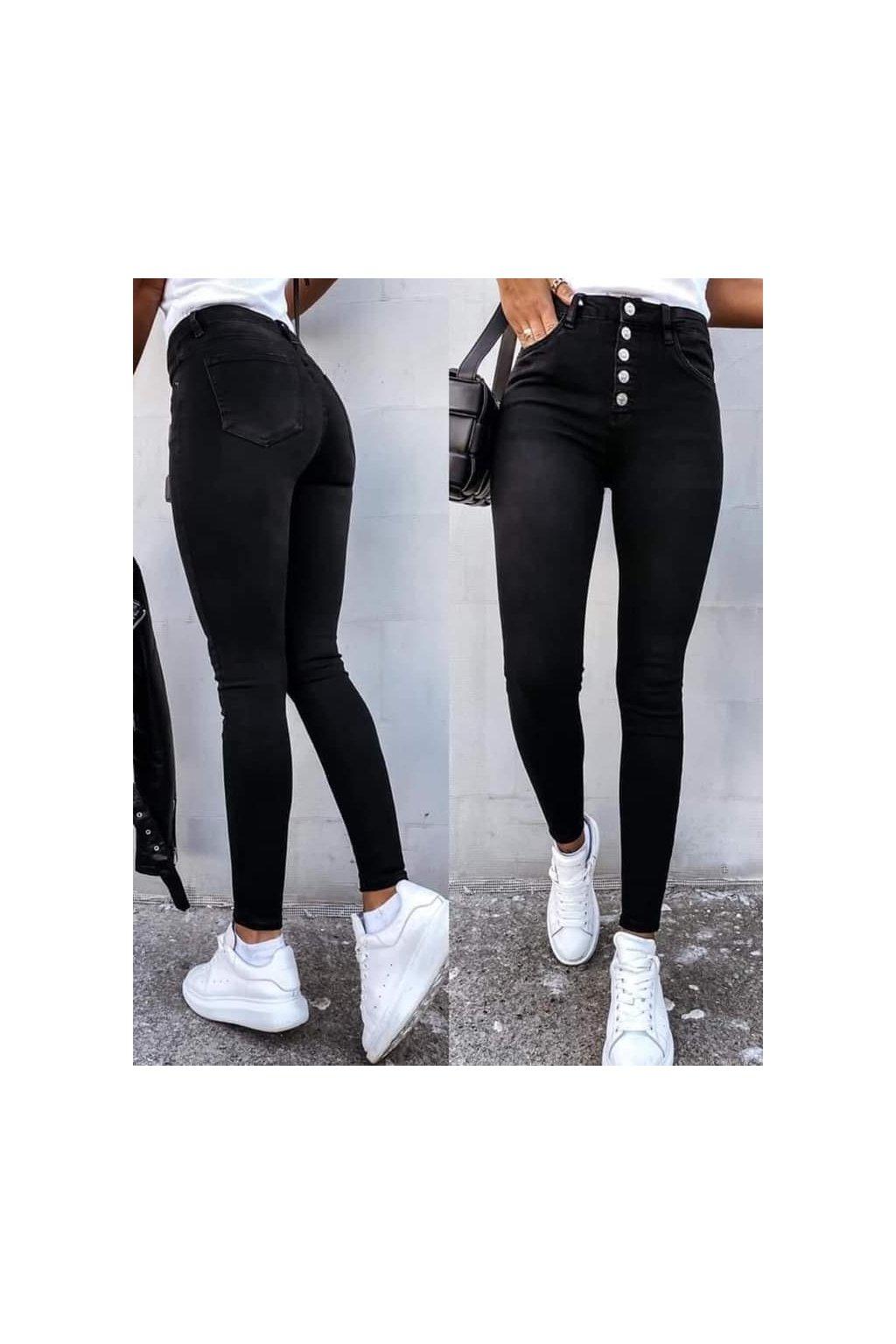 jeans černé knoflíčky s elastanem trendy pohodlné