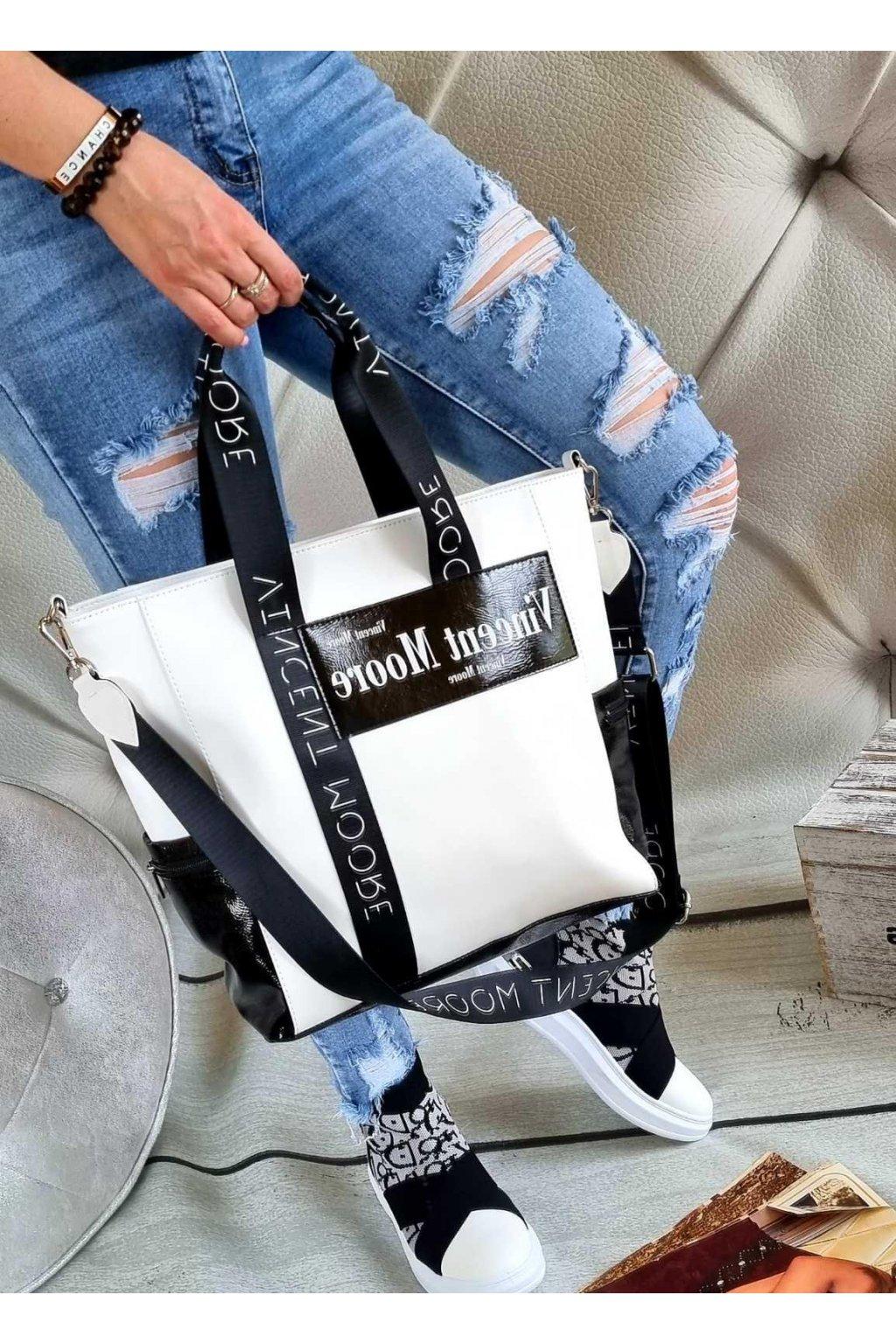KABELKA MOORE trendy kabelka značková luxusní italy style bíločerná