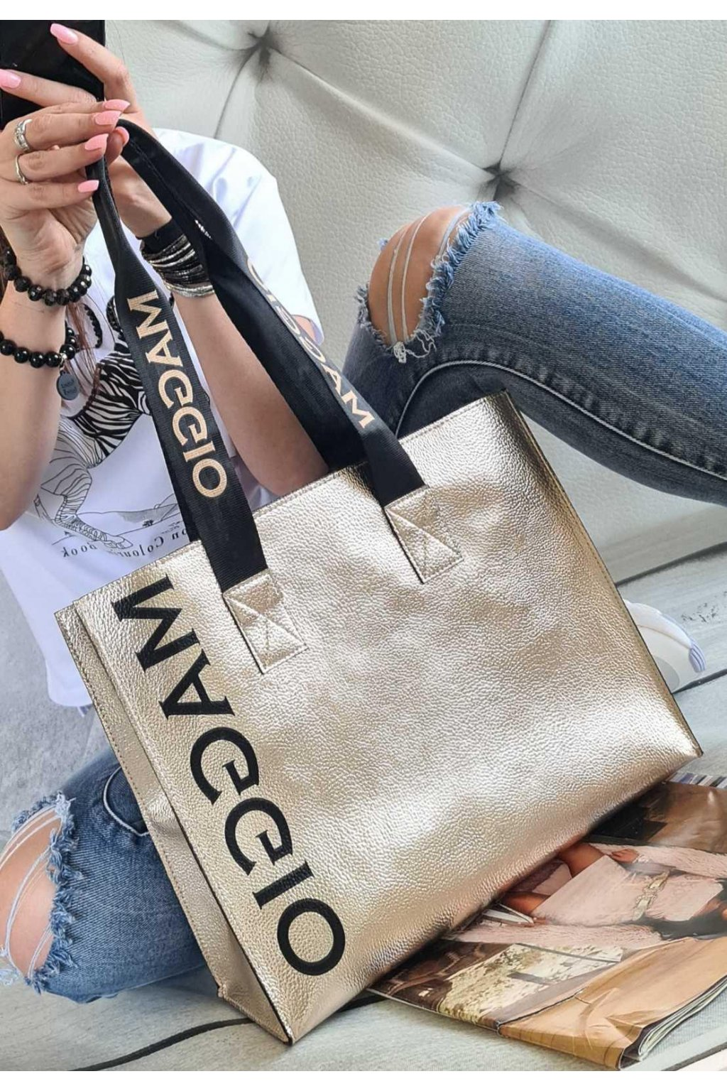 MAGIO zlatá kabelka trendy eko kůže koženka italy style tip na dárek