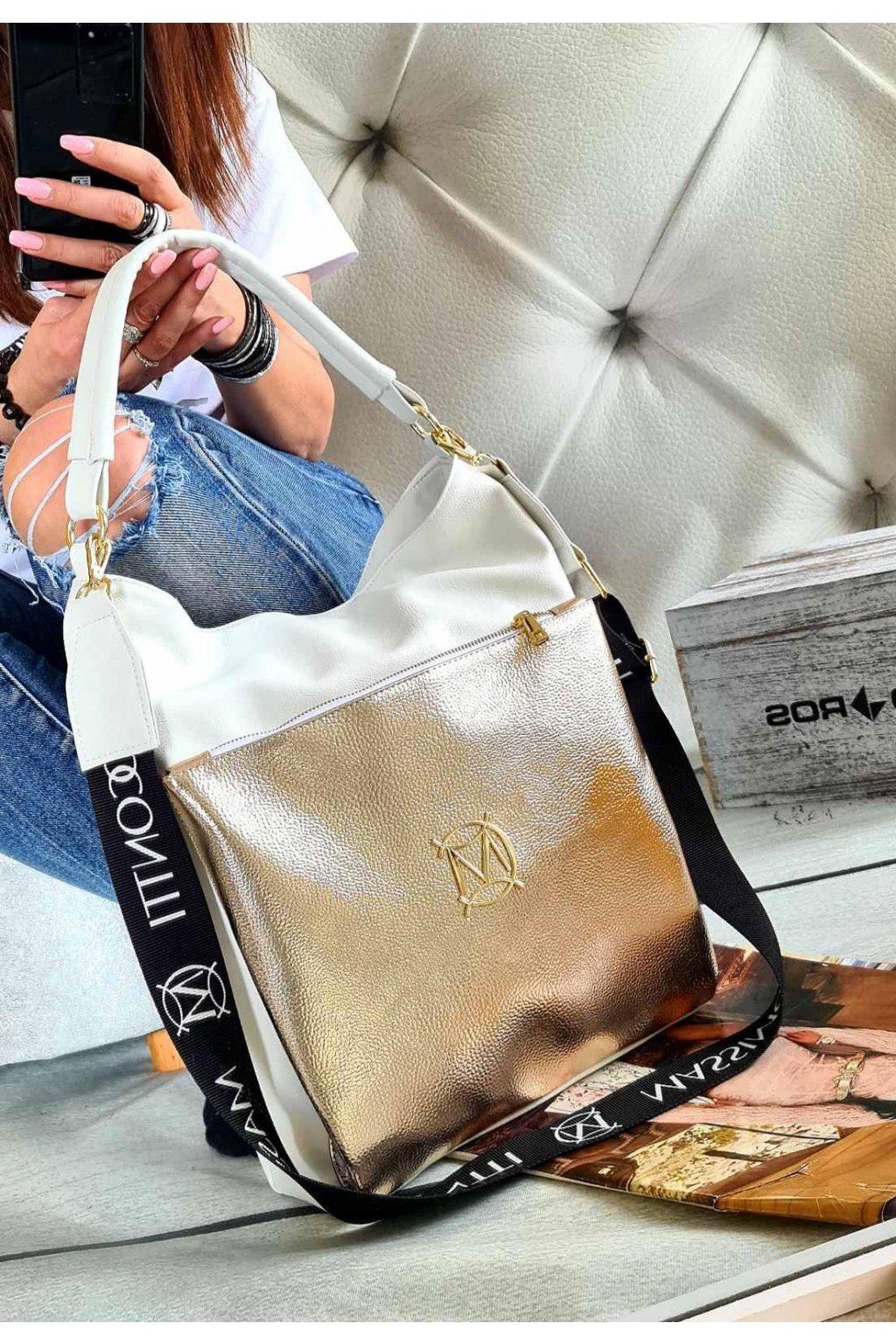 massimo contte italy style kabelka trendy eko kůže koženka syntetika bílozlatá