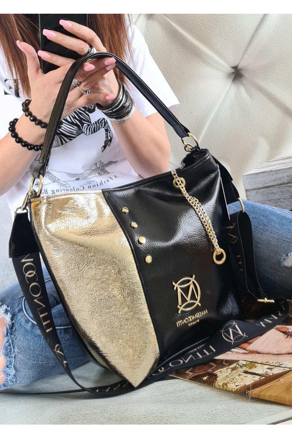 massimo contte luxury černozlatá eko kůže trendy kabelka italy style