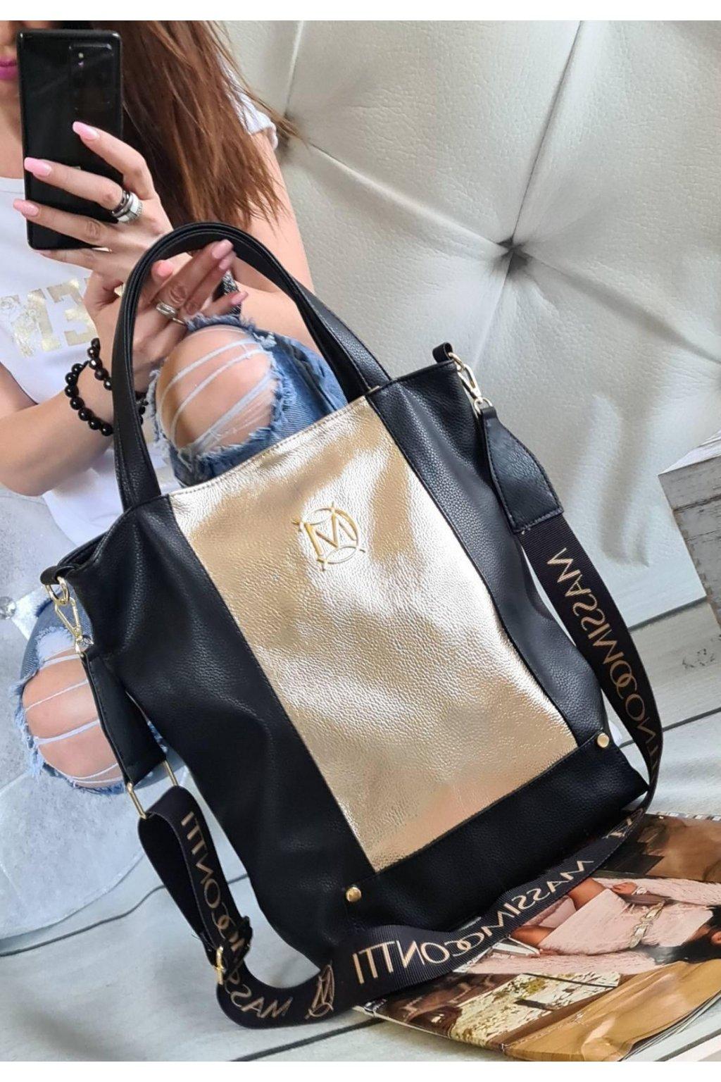 massimocontti ČERNÁ ZLATÁ A4 italy style fashion luxusní kabelka