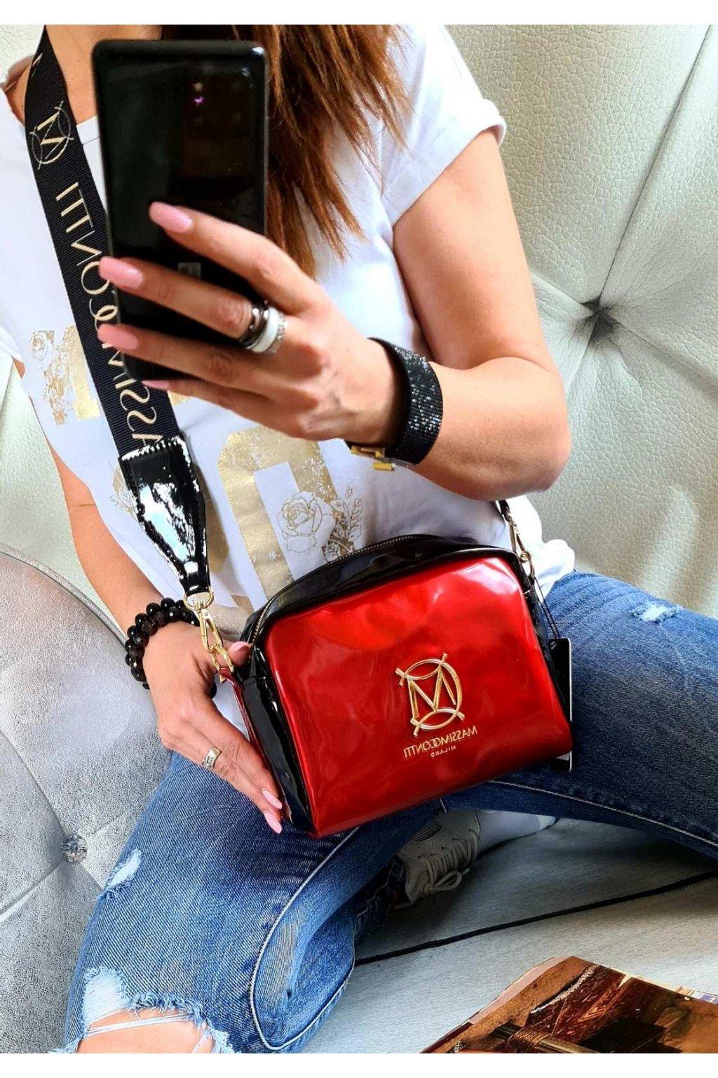 CROSSBODY massimo contti černočervená italy style fashion luxusní kabelka must have značková kabelka
