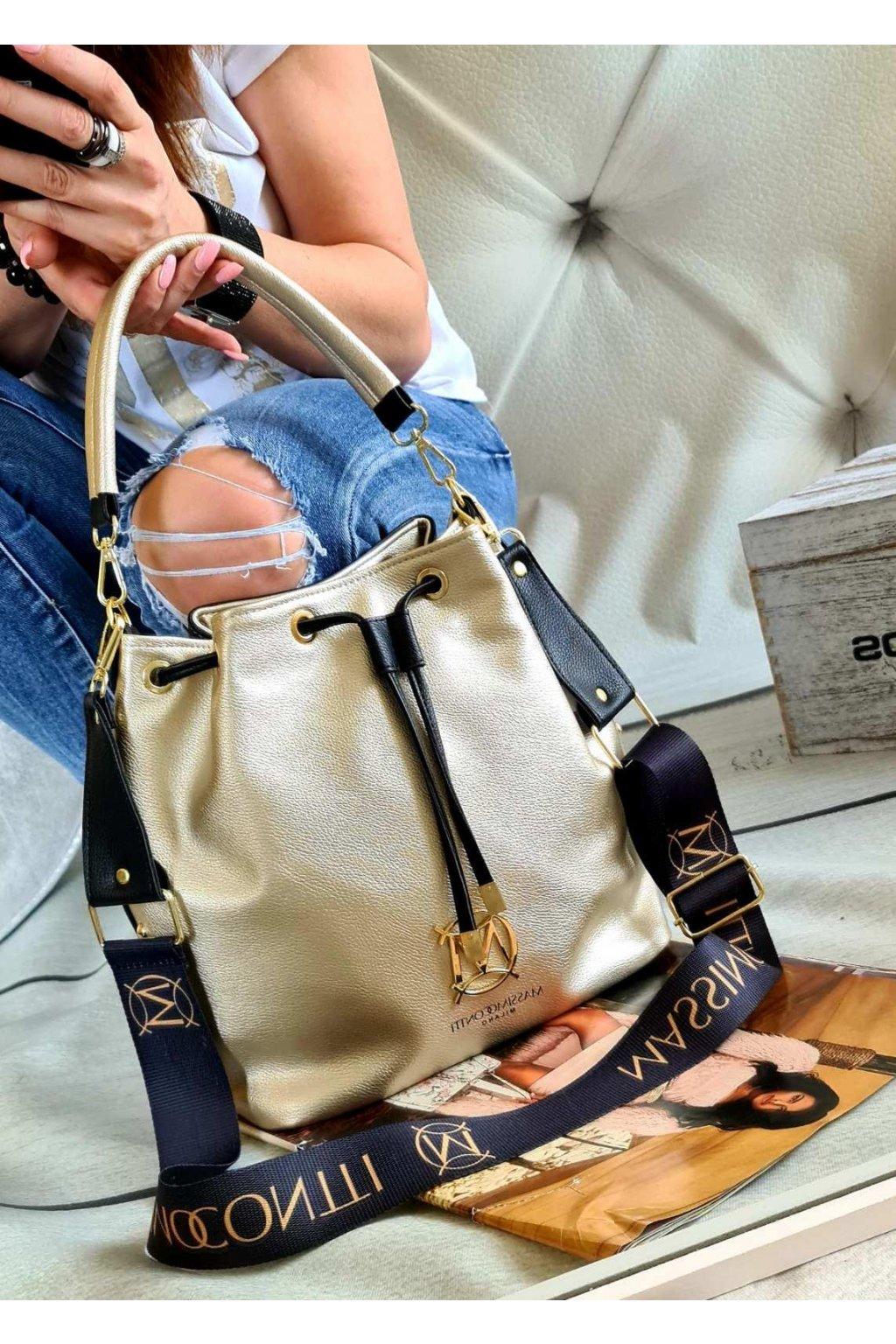massimo contti vak oboustranNý zlatOČERNÝ italy style fashion luxusní kabelky