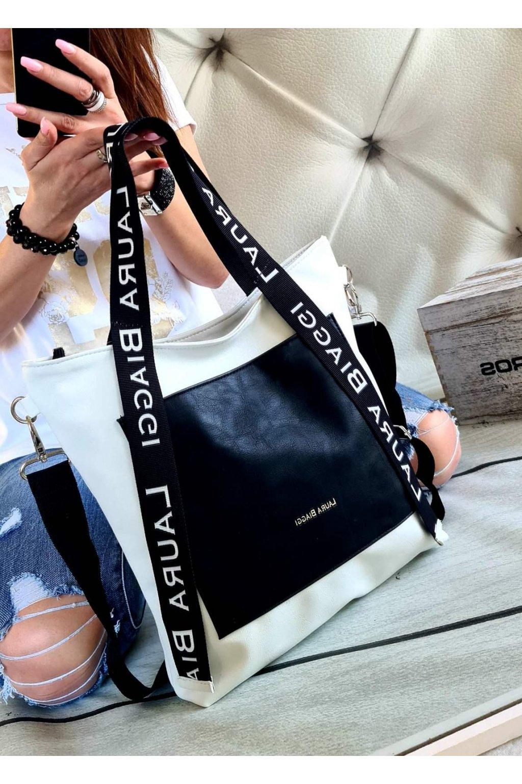 sendy bíločerná kabelka laura biaggi trendy luxusní kabelky značkové