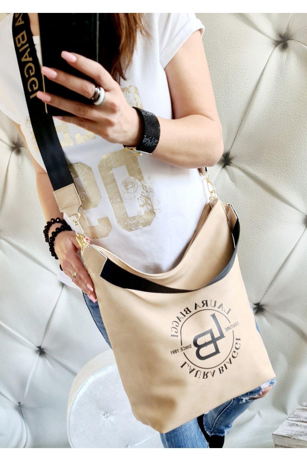 kabelka laura biaggi pytel béžový trendy luxusní kabelky značkové