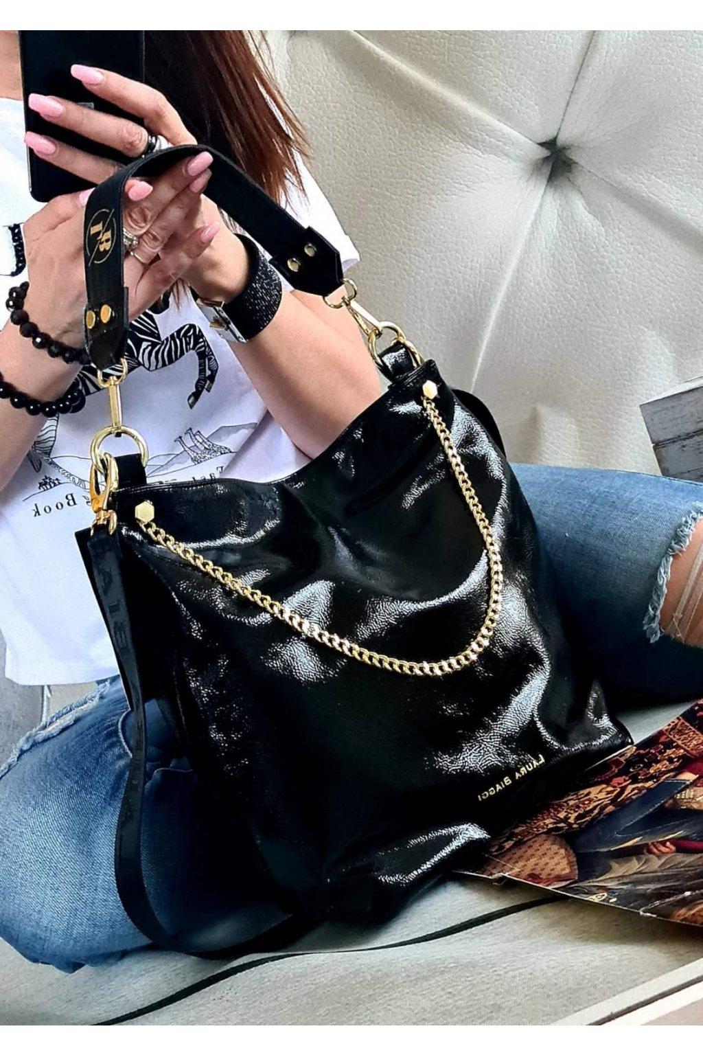 Laura Biaggi elegant MENŠÍ ITALY STYLE LUXUSNÍ ZNAČKOVÉ KABELKY trendy černá