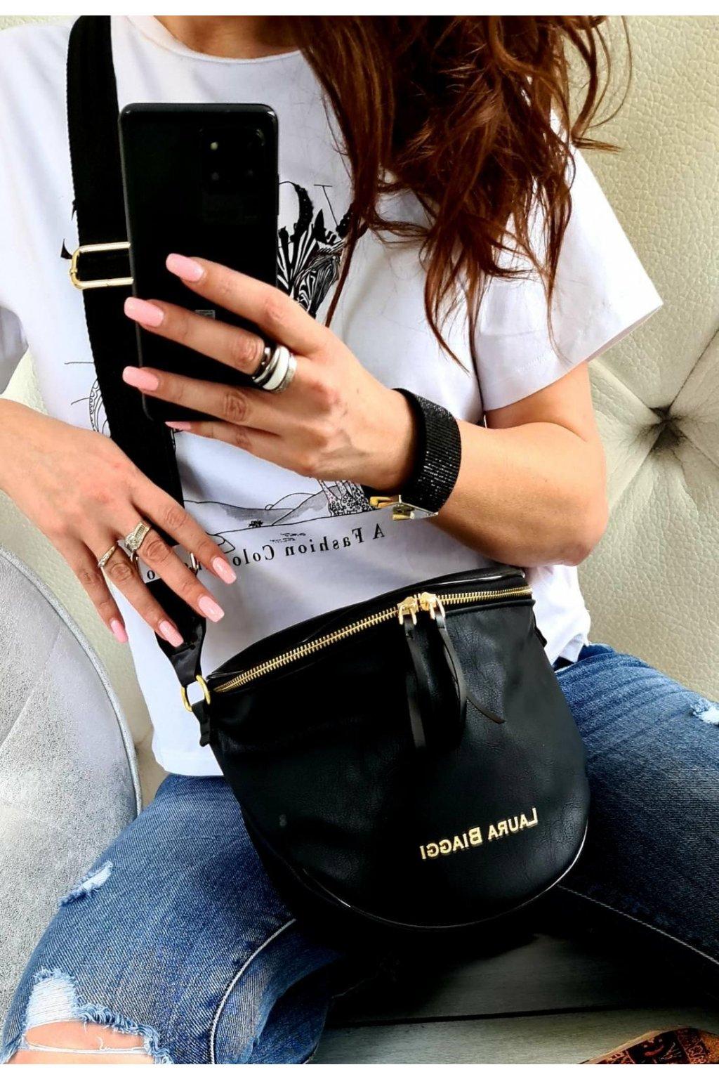 crossbody Kattys Laura Biaggi luxusní kabelka značková must have černá