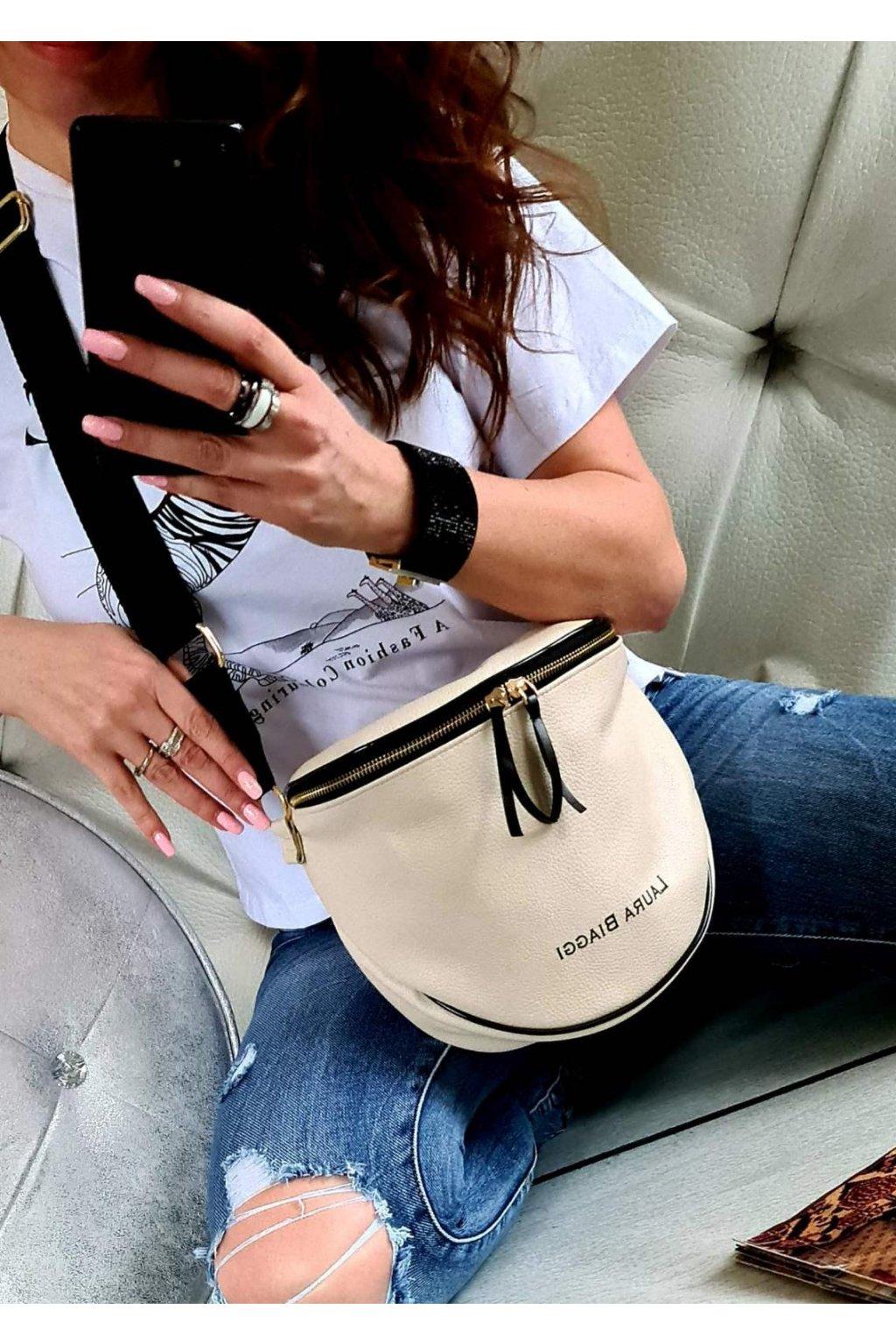 crossbody katys laura biaggi italy style luxus kabelka béžová