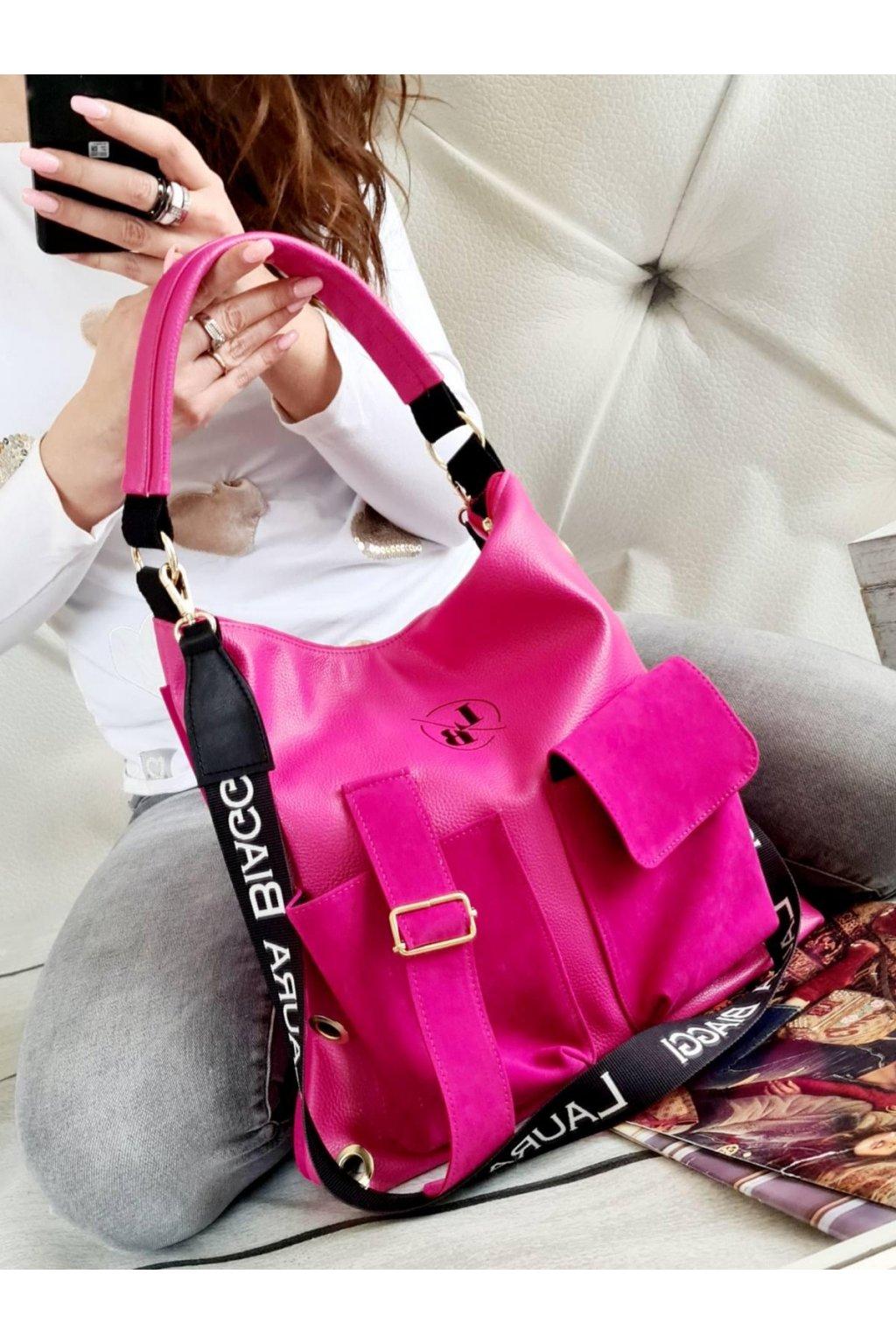 Laura Biaggi růžová trendy kabelka italy style luxusní kabelky eko kůže