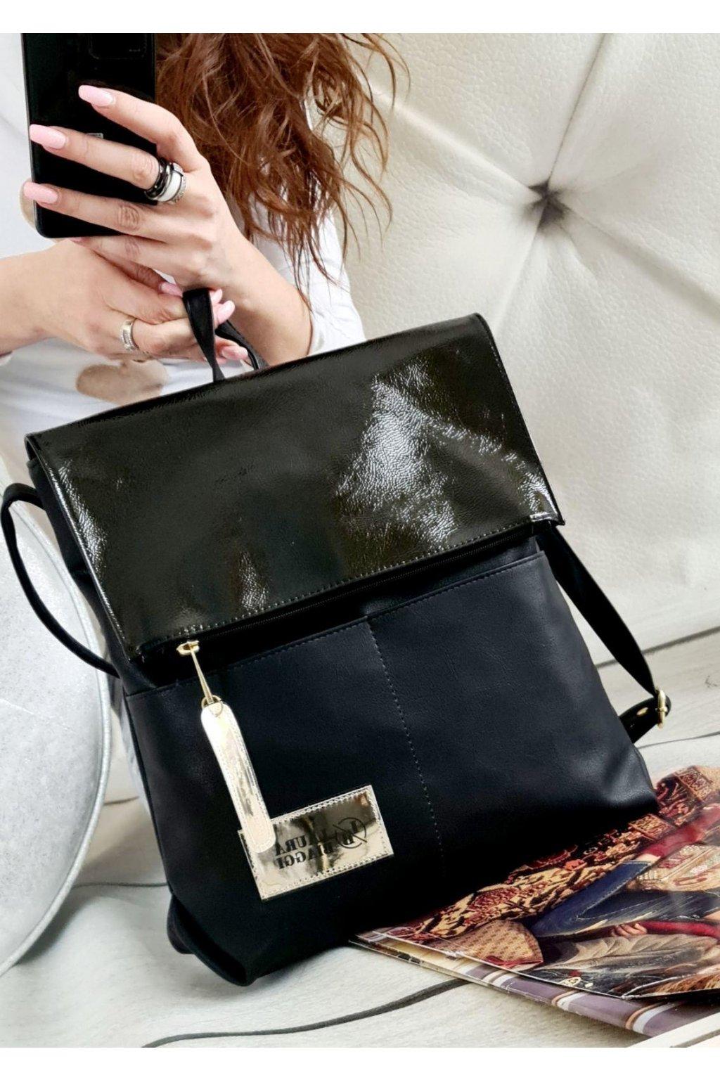 Laura Biaggi batoh černý trendy luxusní značkový kabelka italy style eko kůže