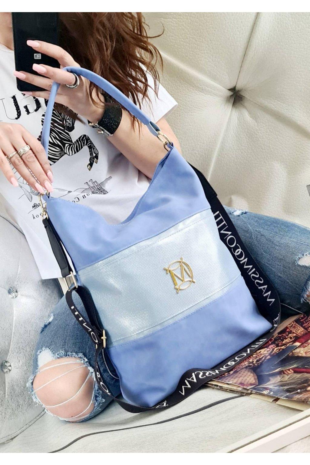 Massimo Contti Italy style dámská trendy luxusní kabelka značková světle modrá blue