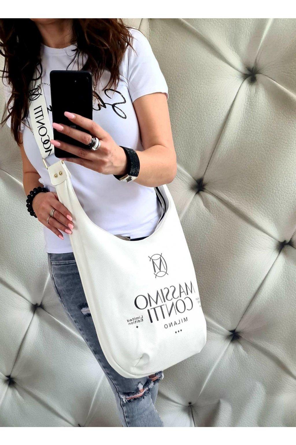 Massimo Contti Italy styl luxusní značková kabelka trendy pytel bílý
