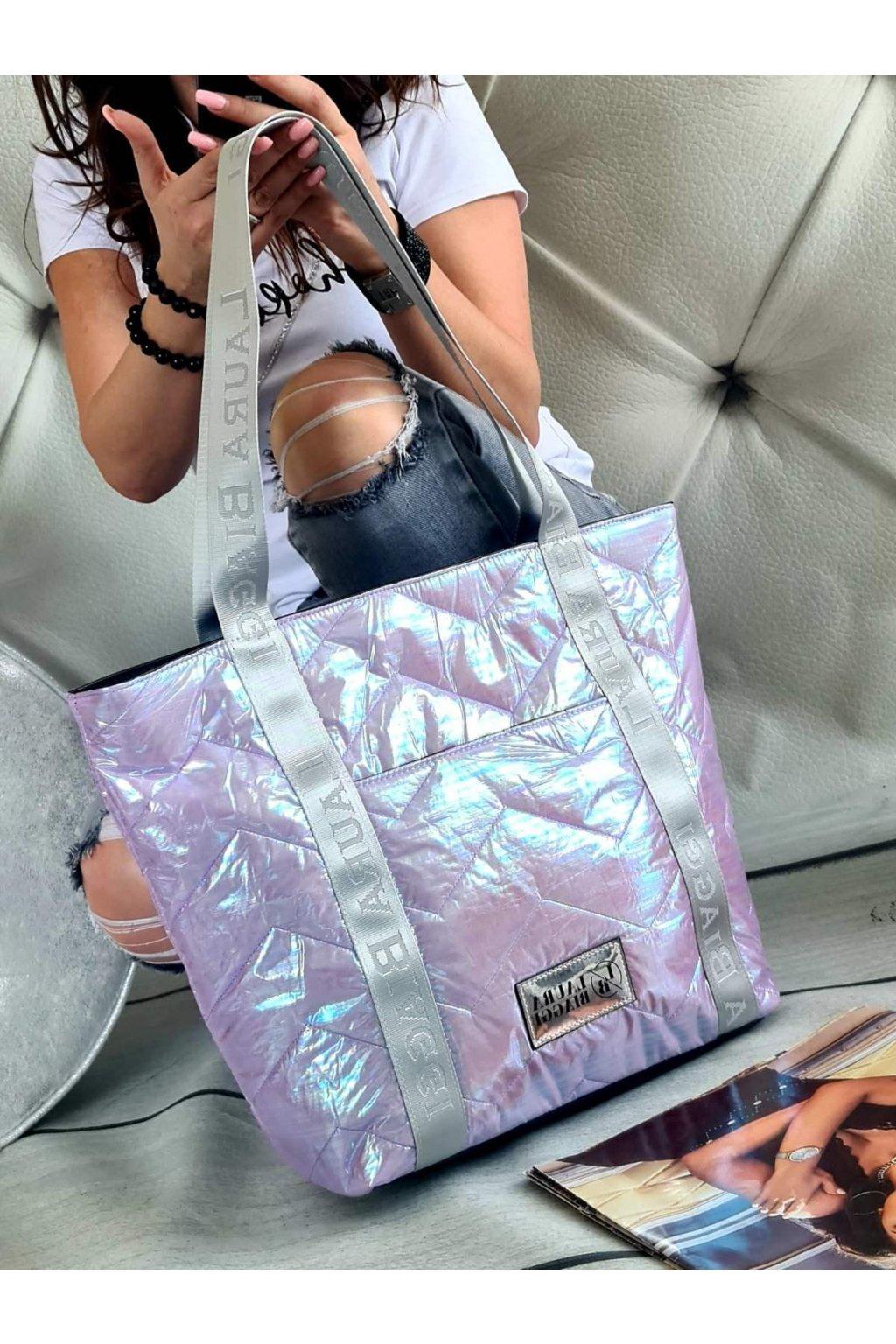 Kabelka Laura Biaggi lila maxi trendy značková luxusní kabelka