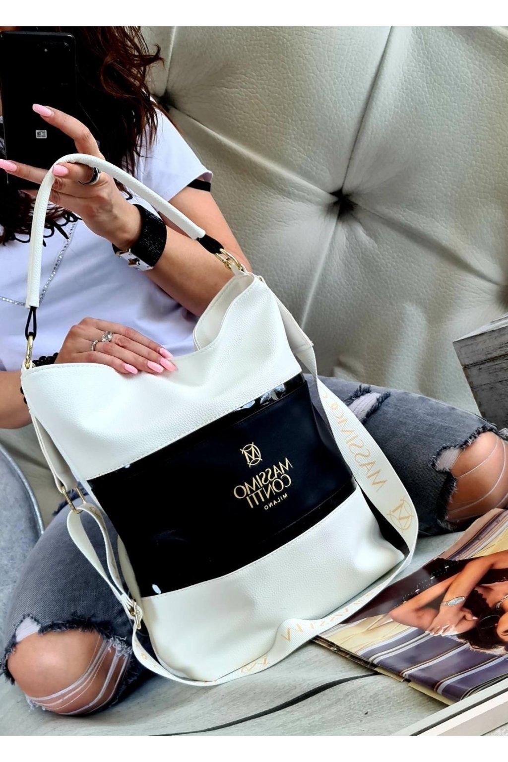 Massimo Contti luxusní značkové kabelky trendy fashion bíločerná