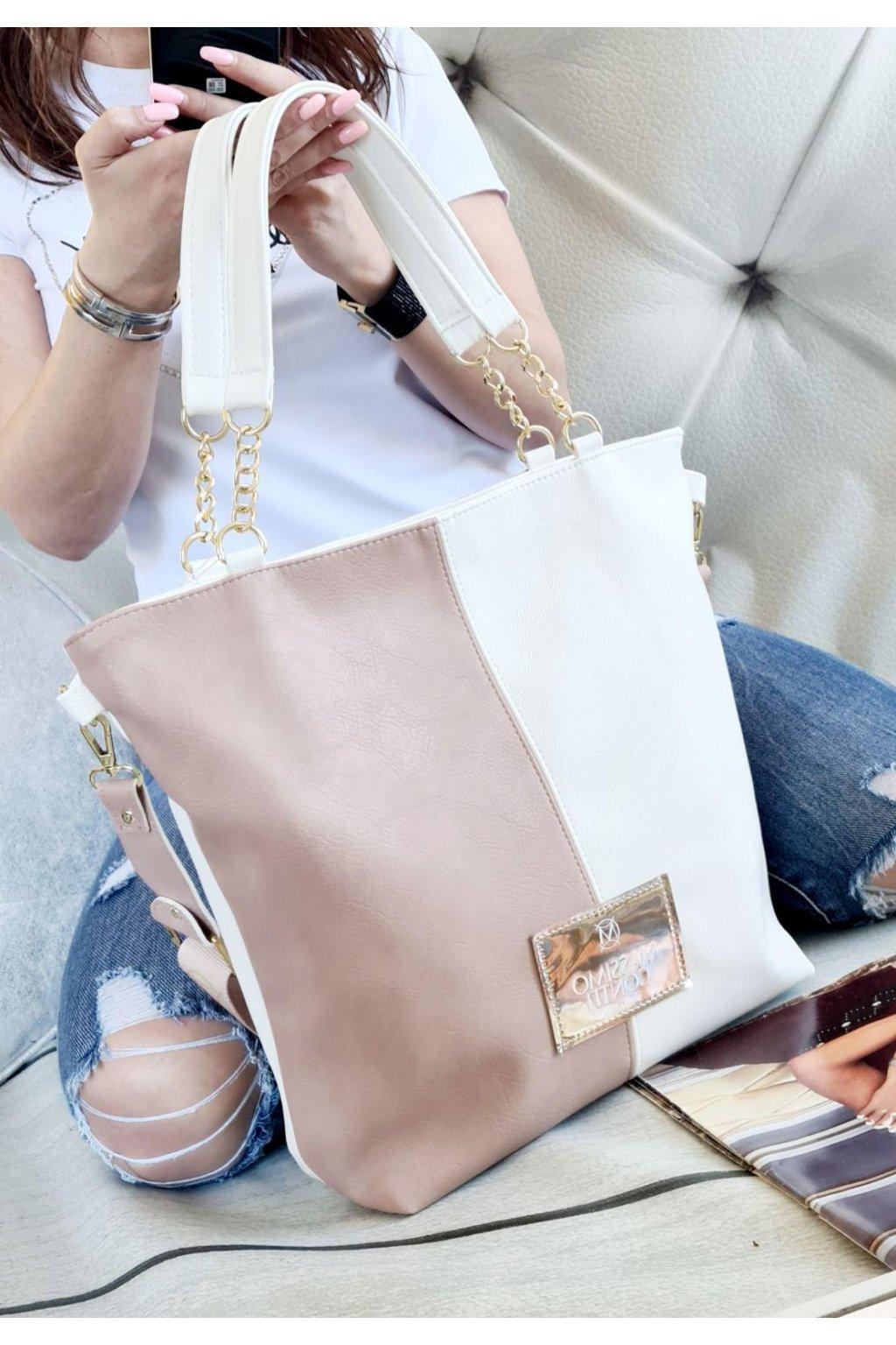 Massimo Contti luxusní značkové kabelky trendy fashion bílorůžová