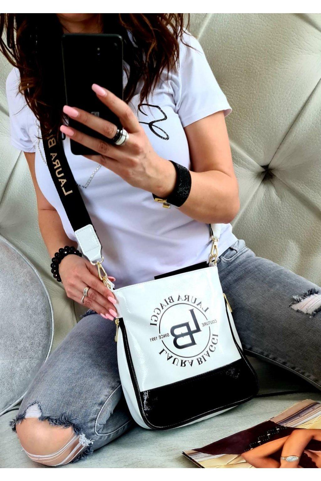 crossbody SALVIE laura biaggi bílá značkové luxusní kabelky