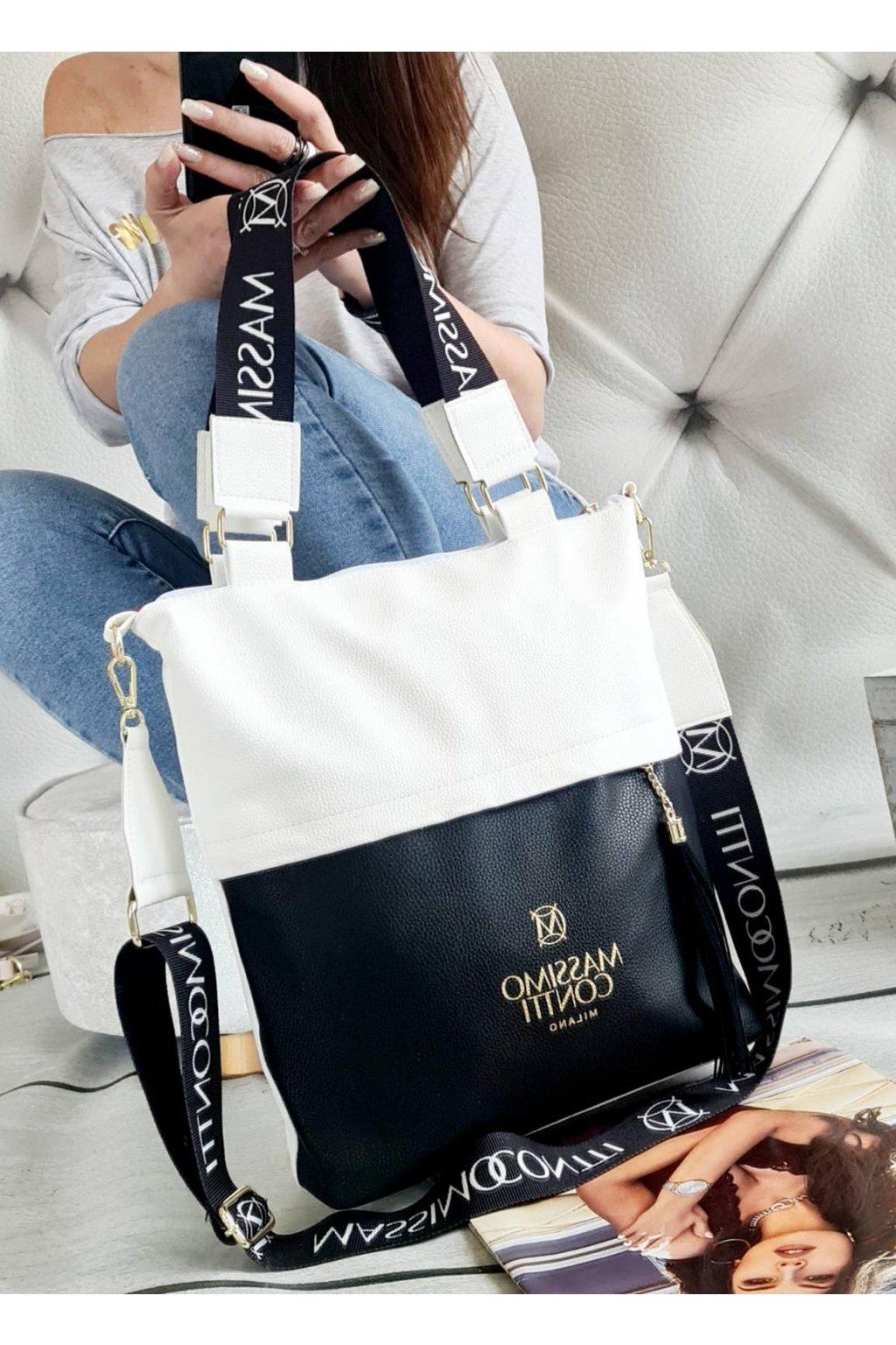 Massimo contti italy fashion luxusní značková kabelka BÍLOČERNÁ jednoduchá nadčasová eazy