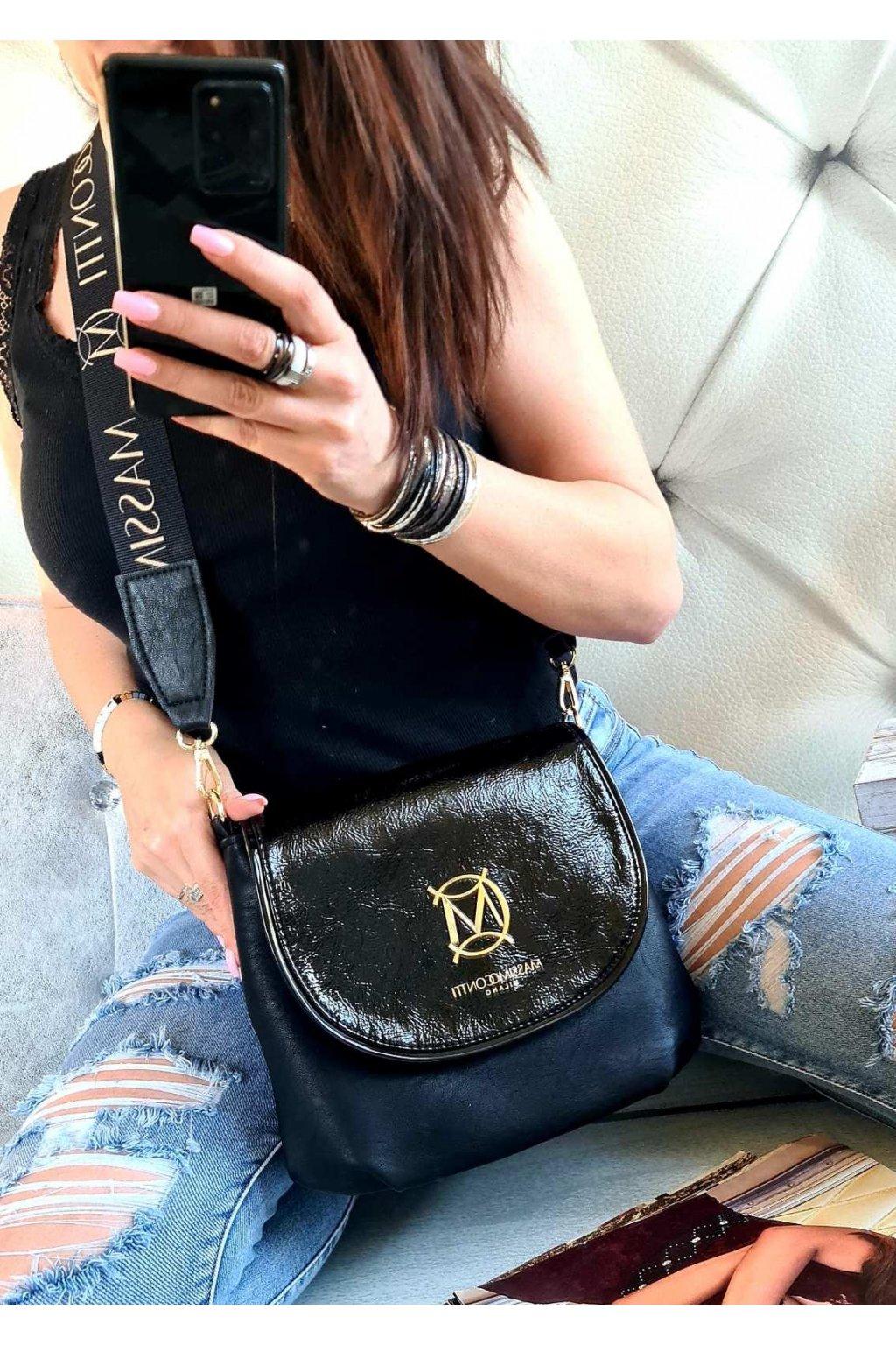 Massimo contti klopna černá luxusní značková kabelka italy fashion
