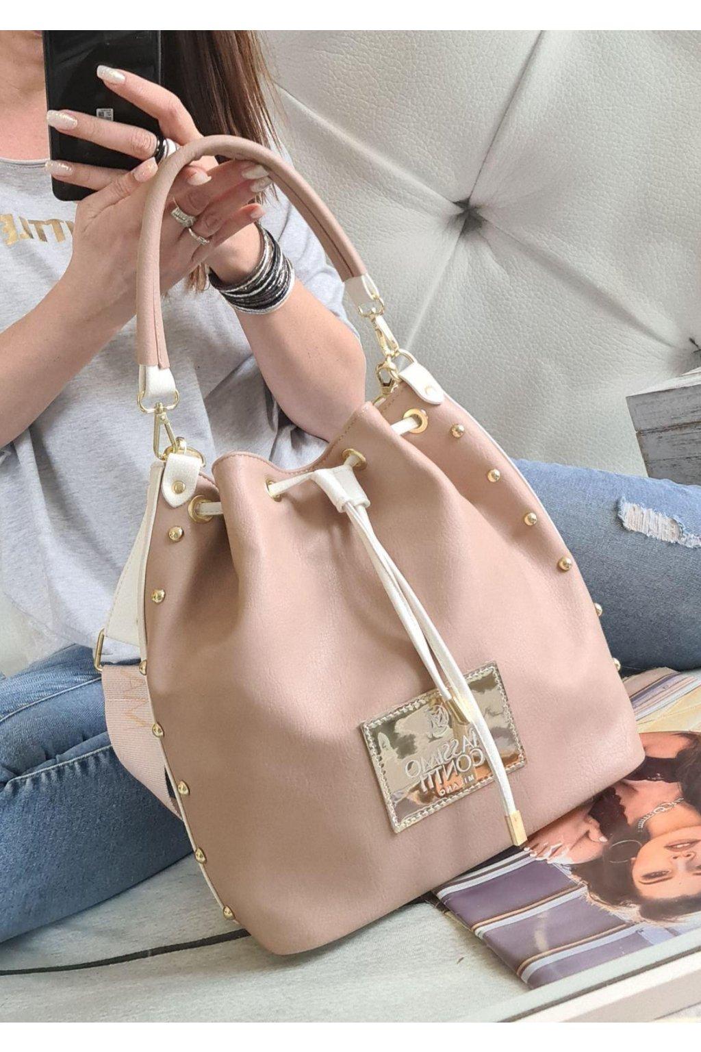 Kabelka massimo contti vak oboustraný značková luxusní kabelka růžovobílá