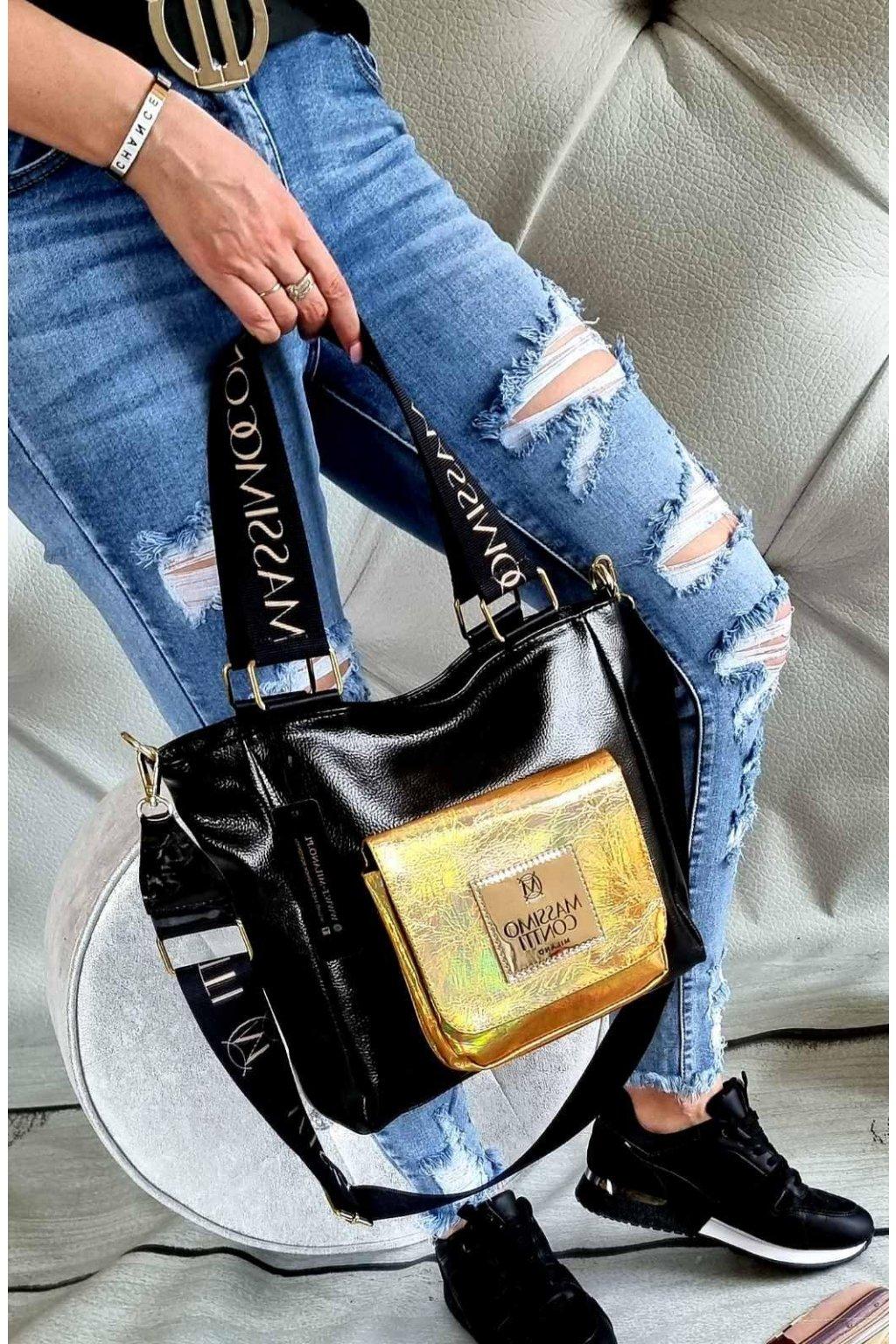 Massimo contti mini značková luxusní kabelka italy fashion černá zlatá