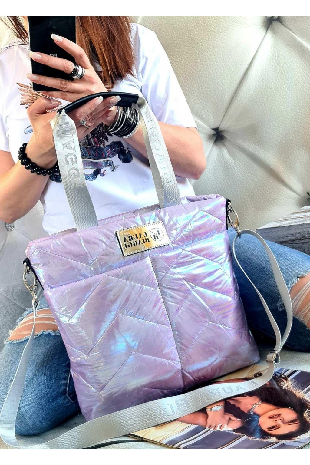 Kabelka Laura Biaggi lila mini luxusní sportovní značková kabelka