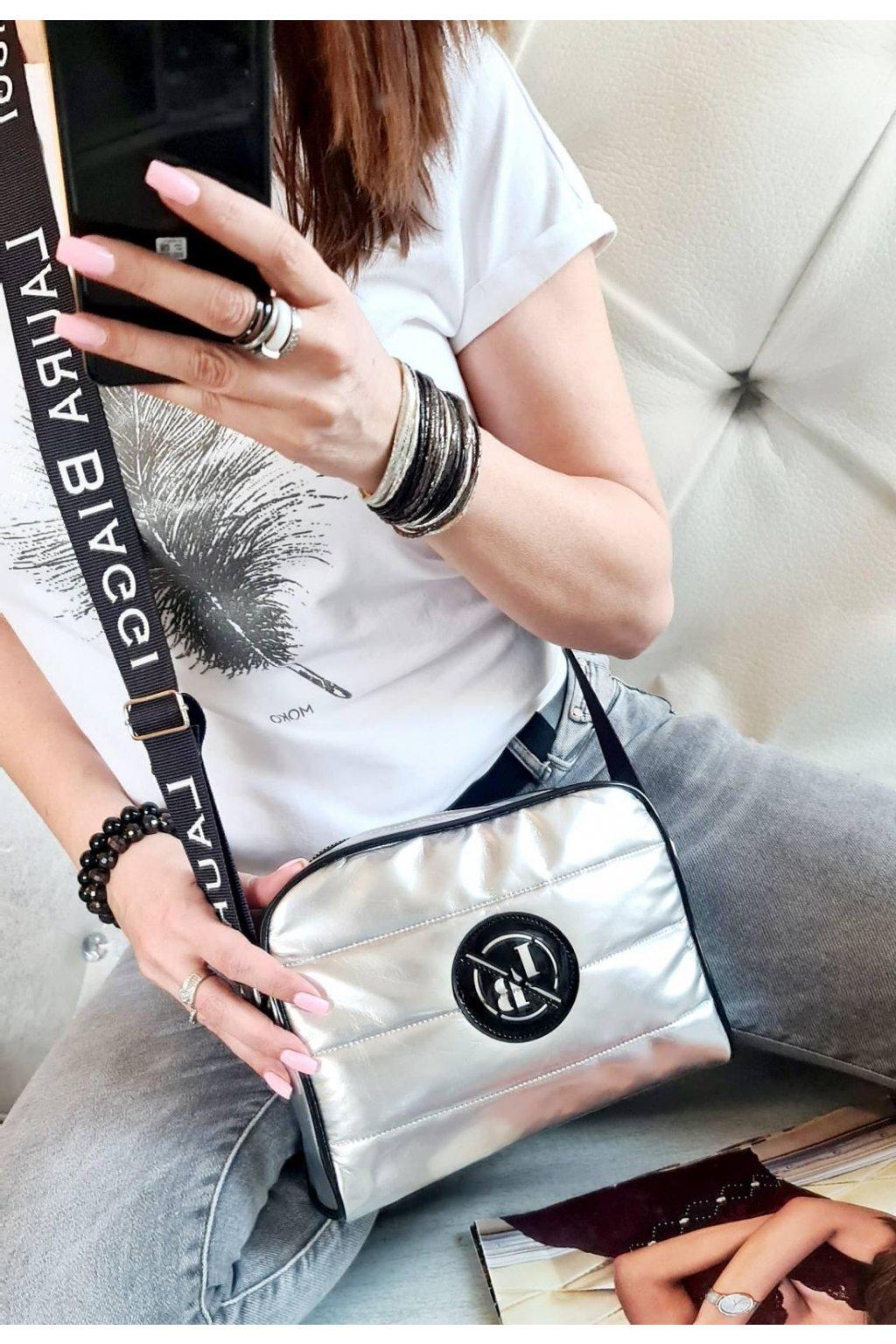 crossbody laura biaggi sport stříbrná italy fashion luxusní značková kabelka