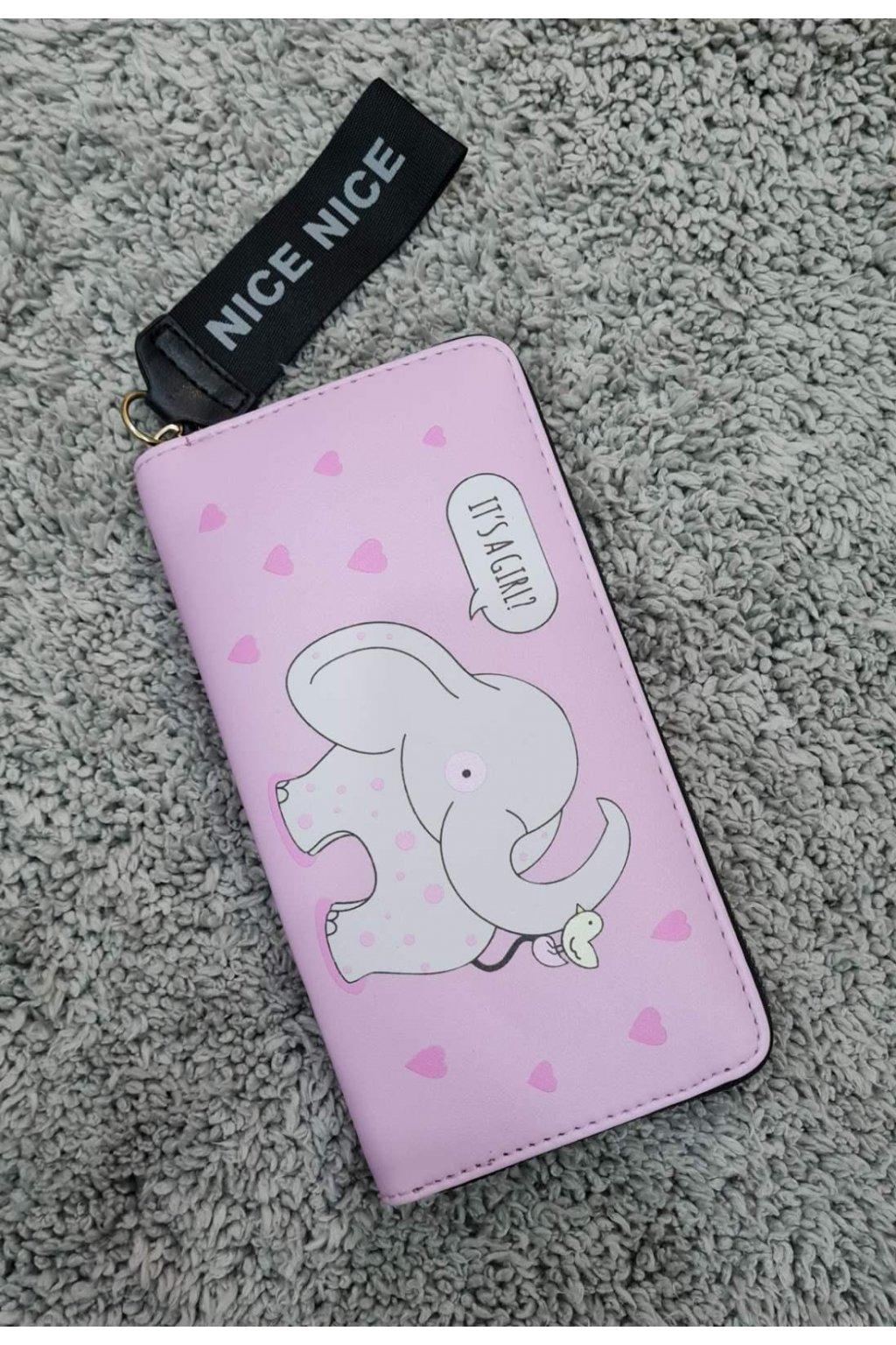 Peněženka NICE se slonem růžová