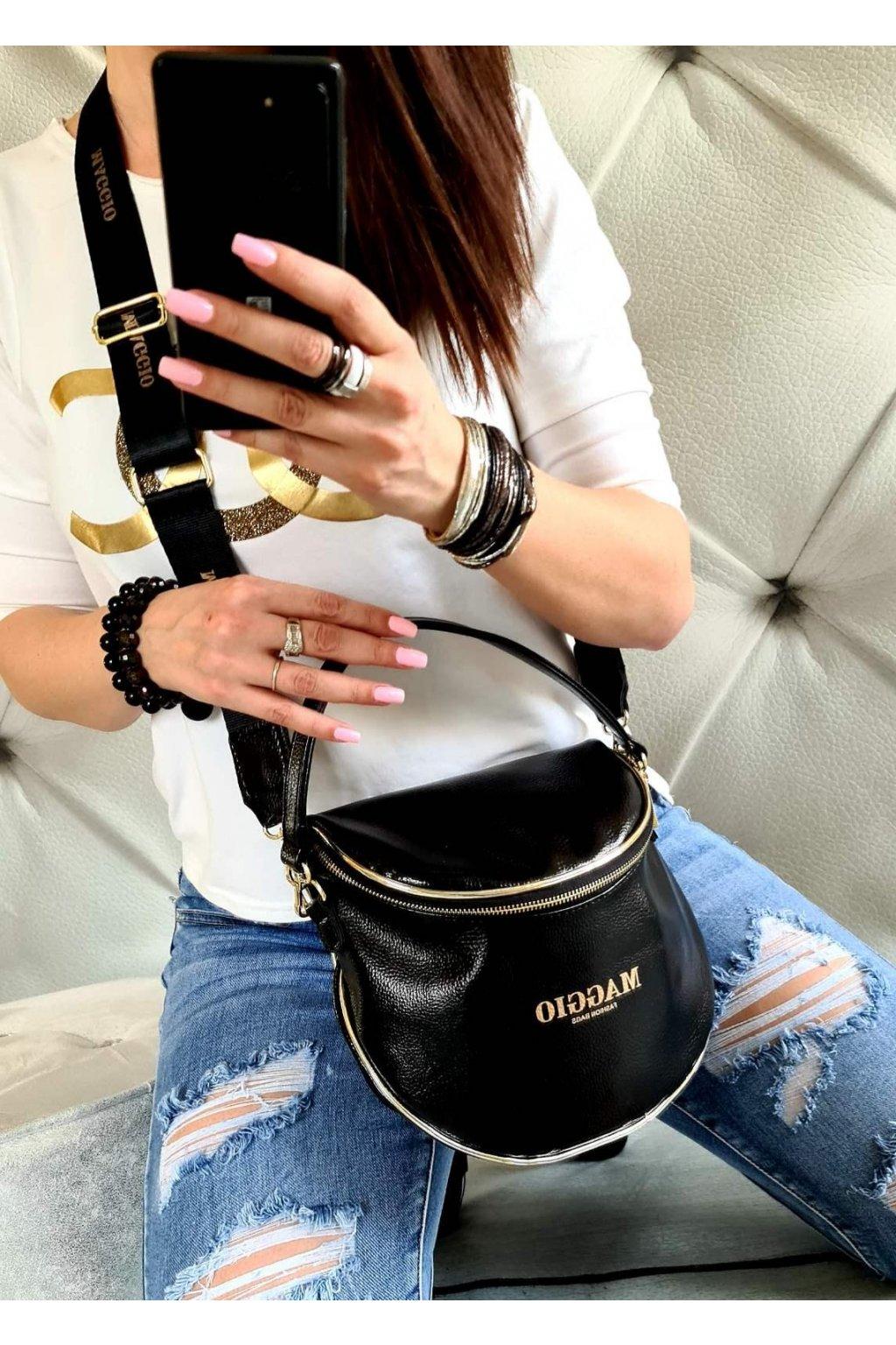 crossbody maggio černá black mat luxusní zančková kabelka