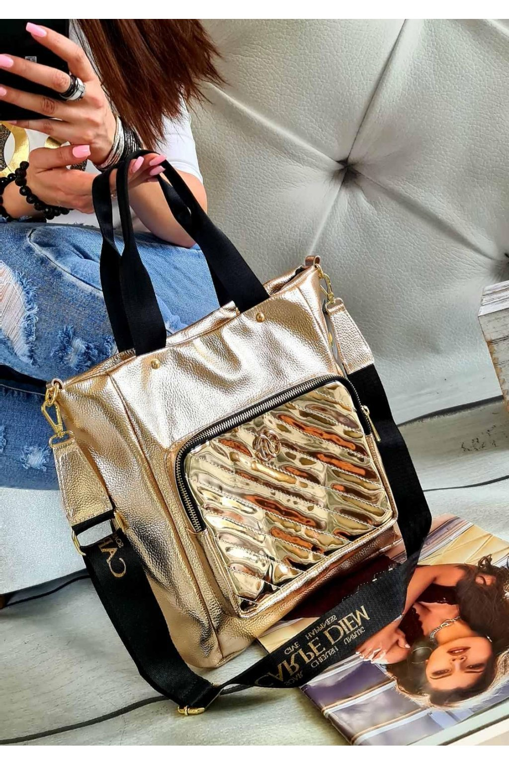 Carpe diem kabelka trendy značková luxusní gold zlatá
