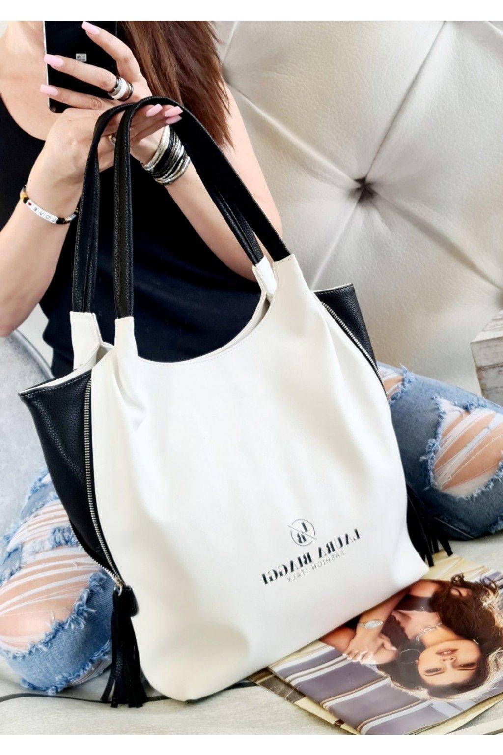 Laura biaggi značková kabelka luxusní trendy italy fashion bíločerná