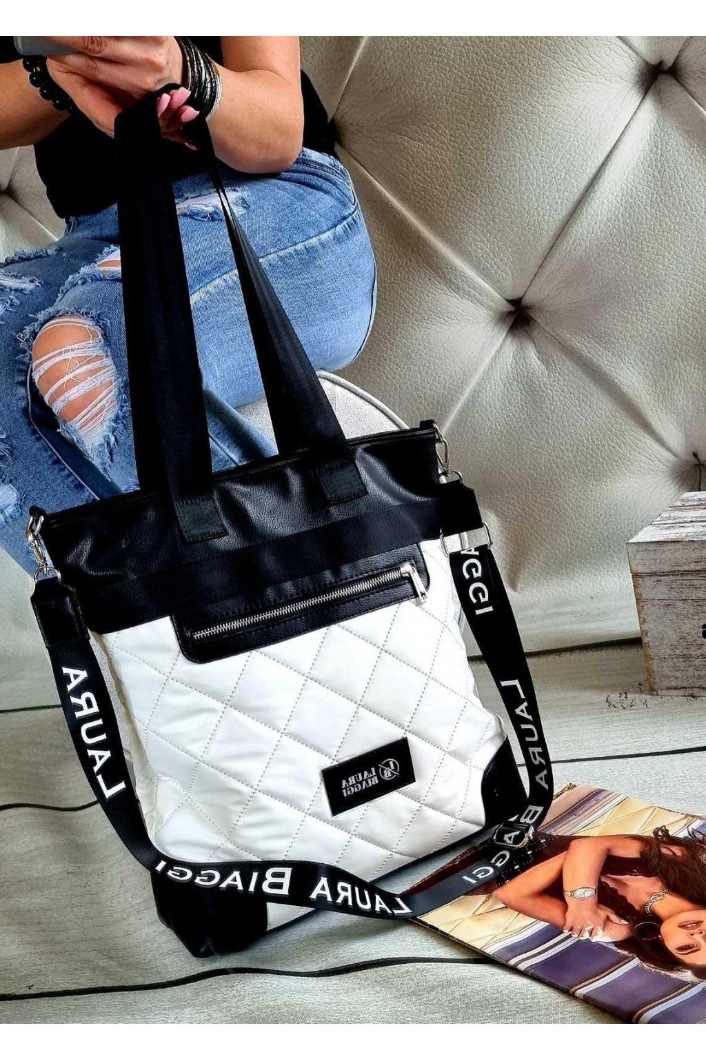Laura Biaggi značková kabelka luxusní trendy černobílá exklusive top design