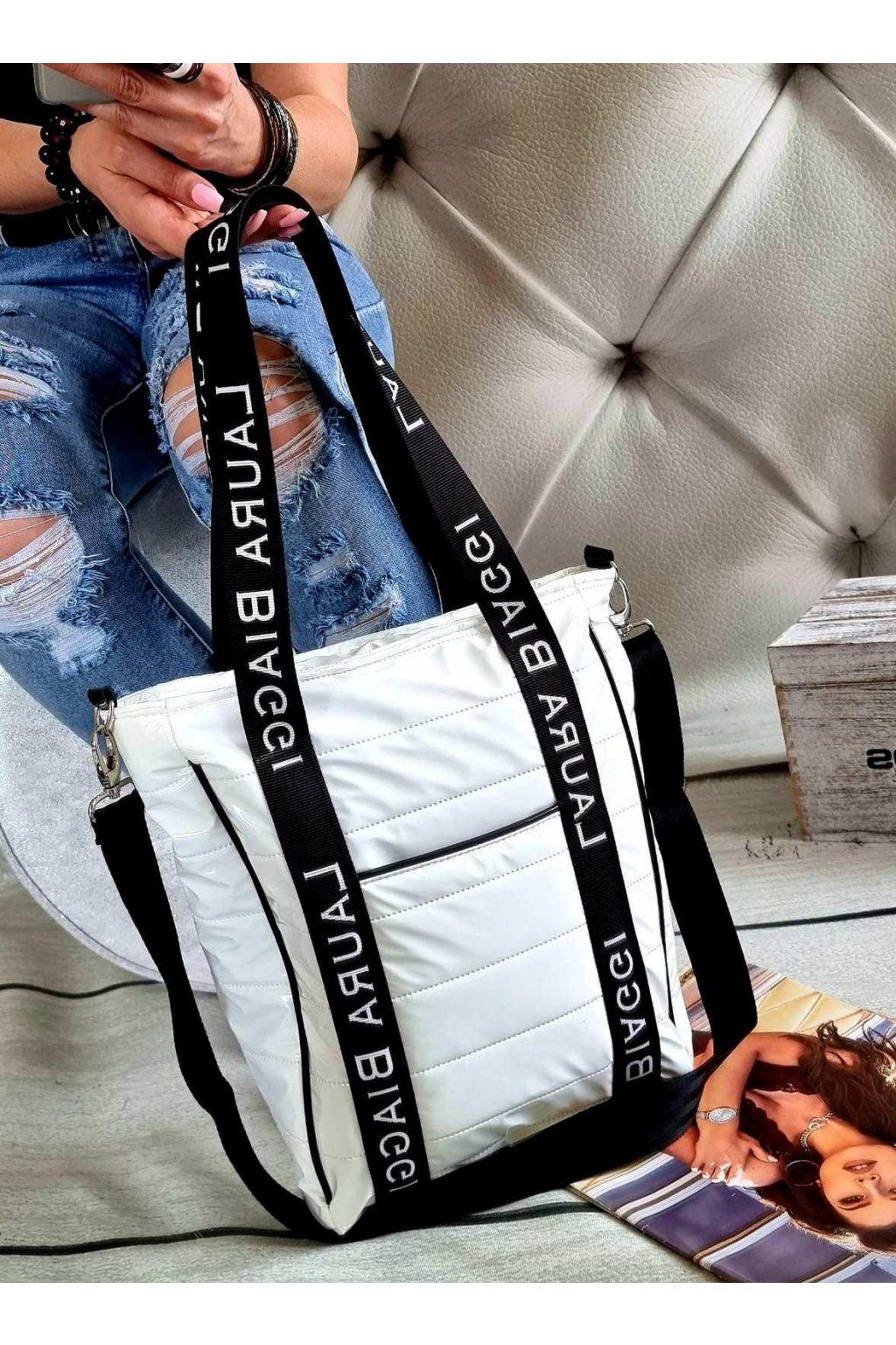 Laura Biaggi značková kabelka luxusní trendy černobílá exklusive top design sportovní