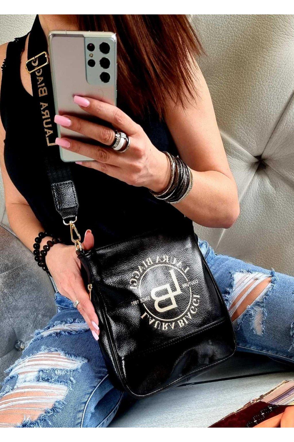 Laura Biaggi značková kabelka luxusní trendy crossbody SALVIE černá top design