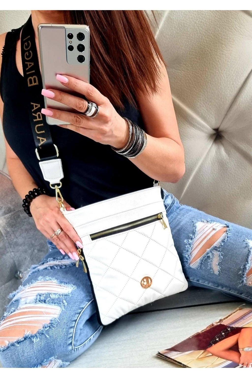 Laura Biaggi značková kabelka luxusní trendy crossbody bílá eazy