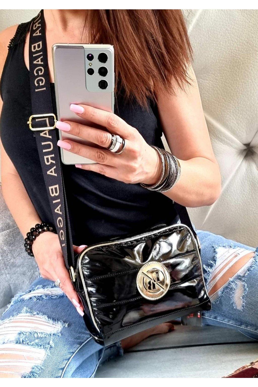Laura Biaggi značková kabelka luxusní trendy crossbody bLACK ČERNÁ top design