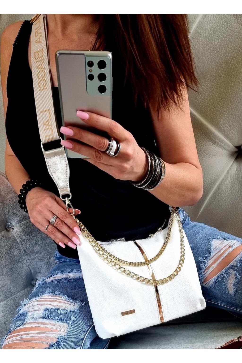 Laura Biaggi značková kabelka luxusní trendy crossbody bílá elegant top design