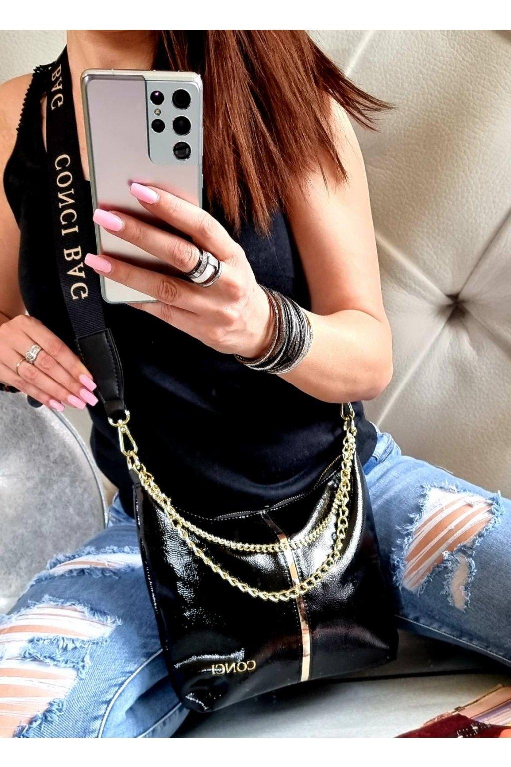 CONCI značková kabelka luxusní crossbody černá top design