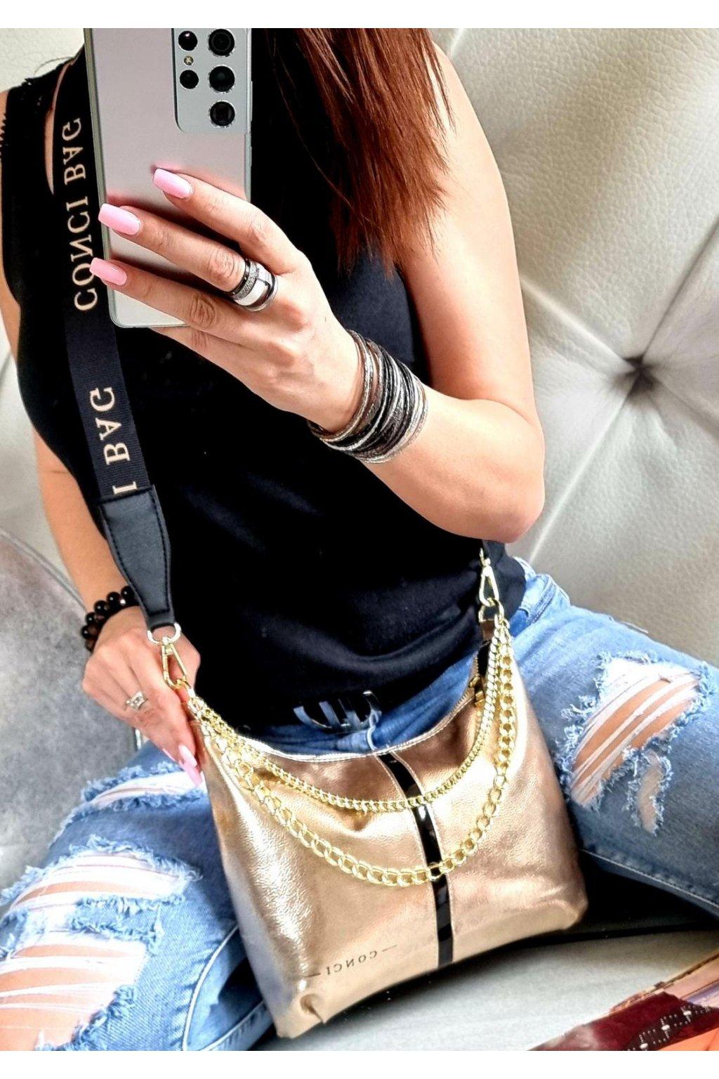 CONCI značková kabelka luxusní crossbody zlatá gold top design
