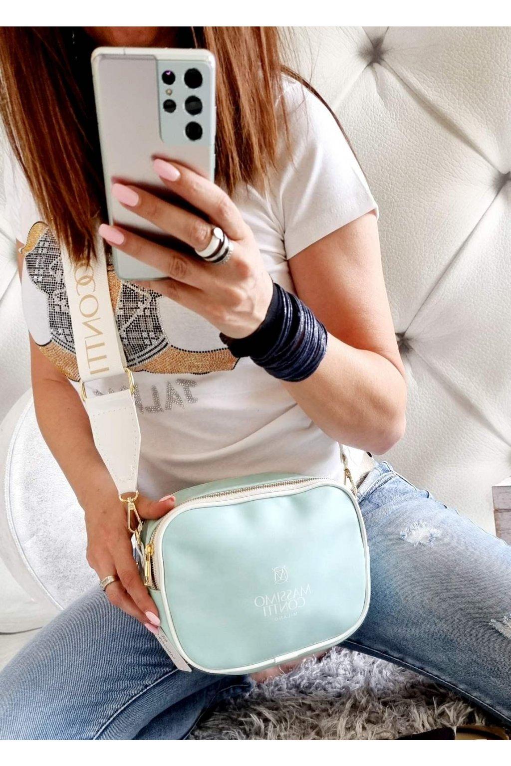 crossbody massimo tyrkys exklusiv značková kabelka italy fashion mentol