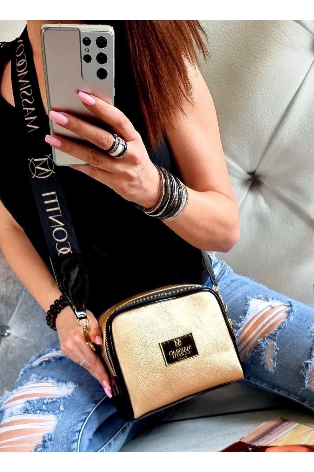 MASSIMO CONNTI značková kabelka luxusní crossbody ZLATÁ top design