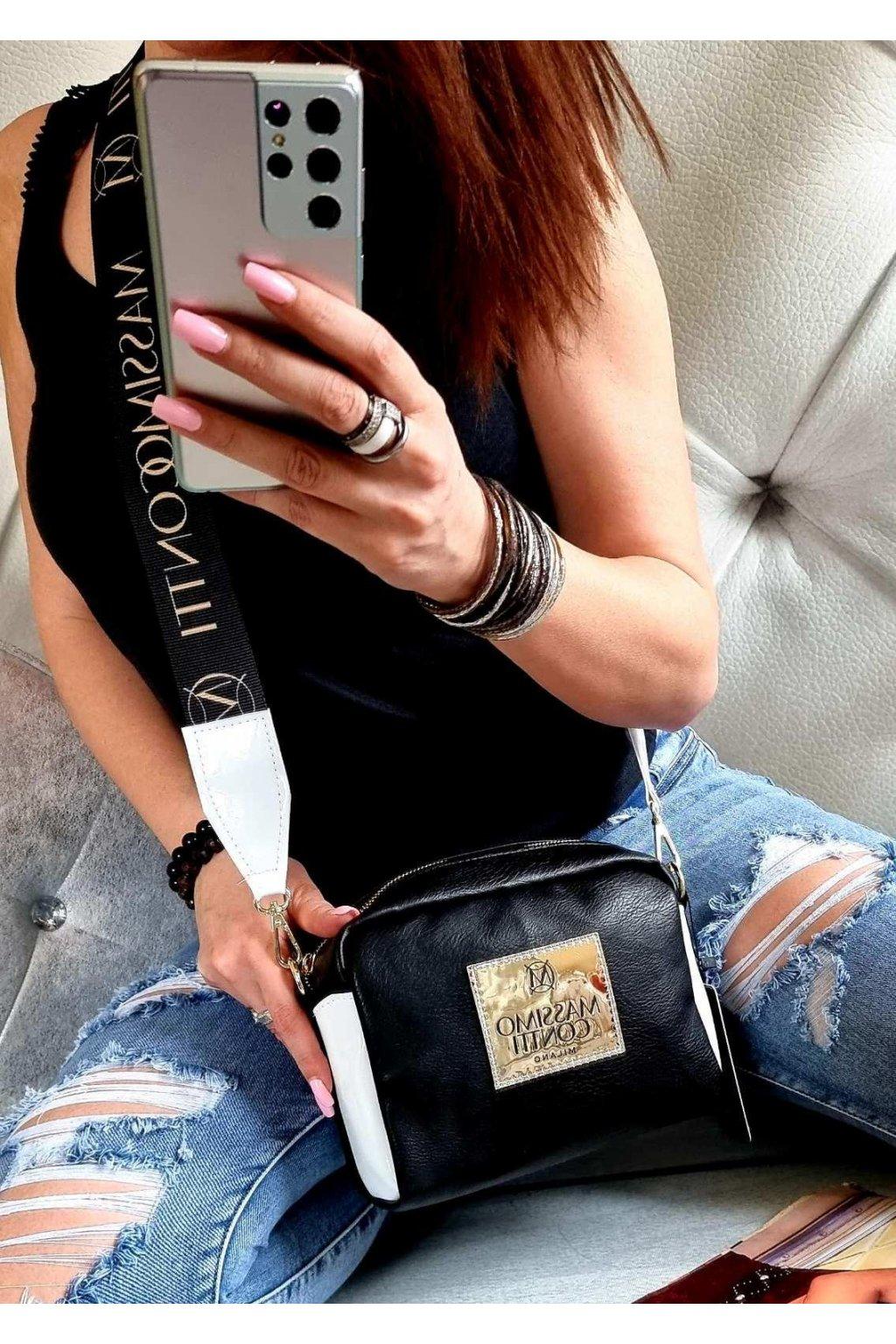 MASSIMO CONNTI značková kabelka luxusní crossbody černá top design
