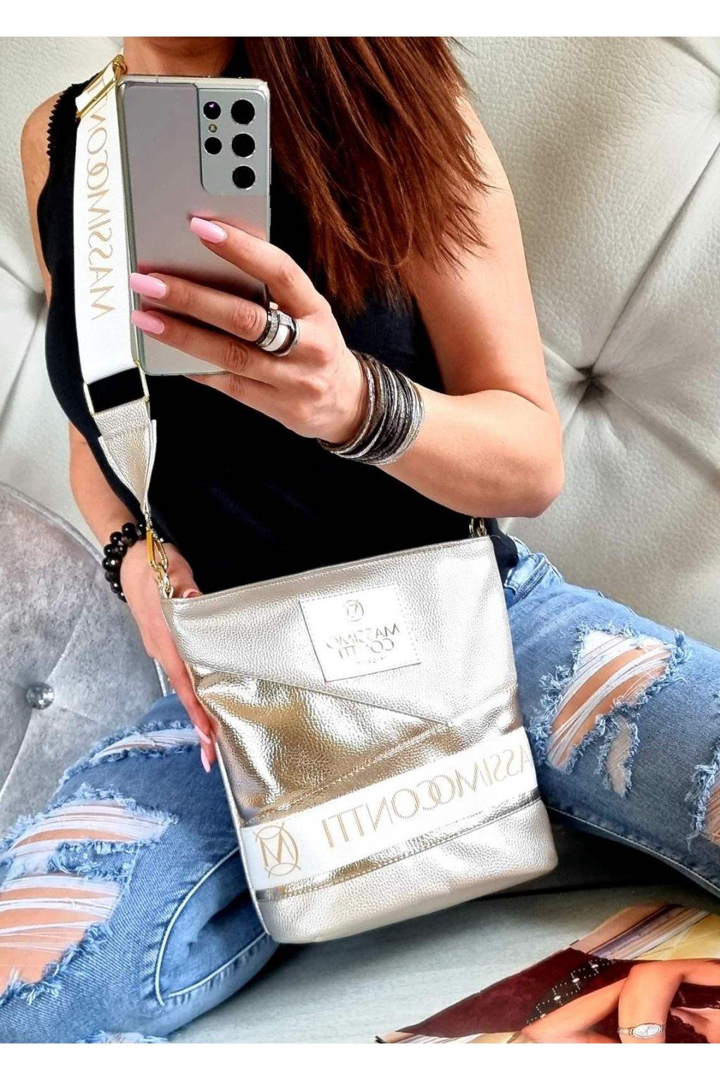 MASSIMO contti exklusivní kabelka značková luxusní italy fashion crossbody zlatobronz