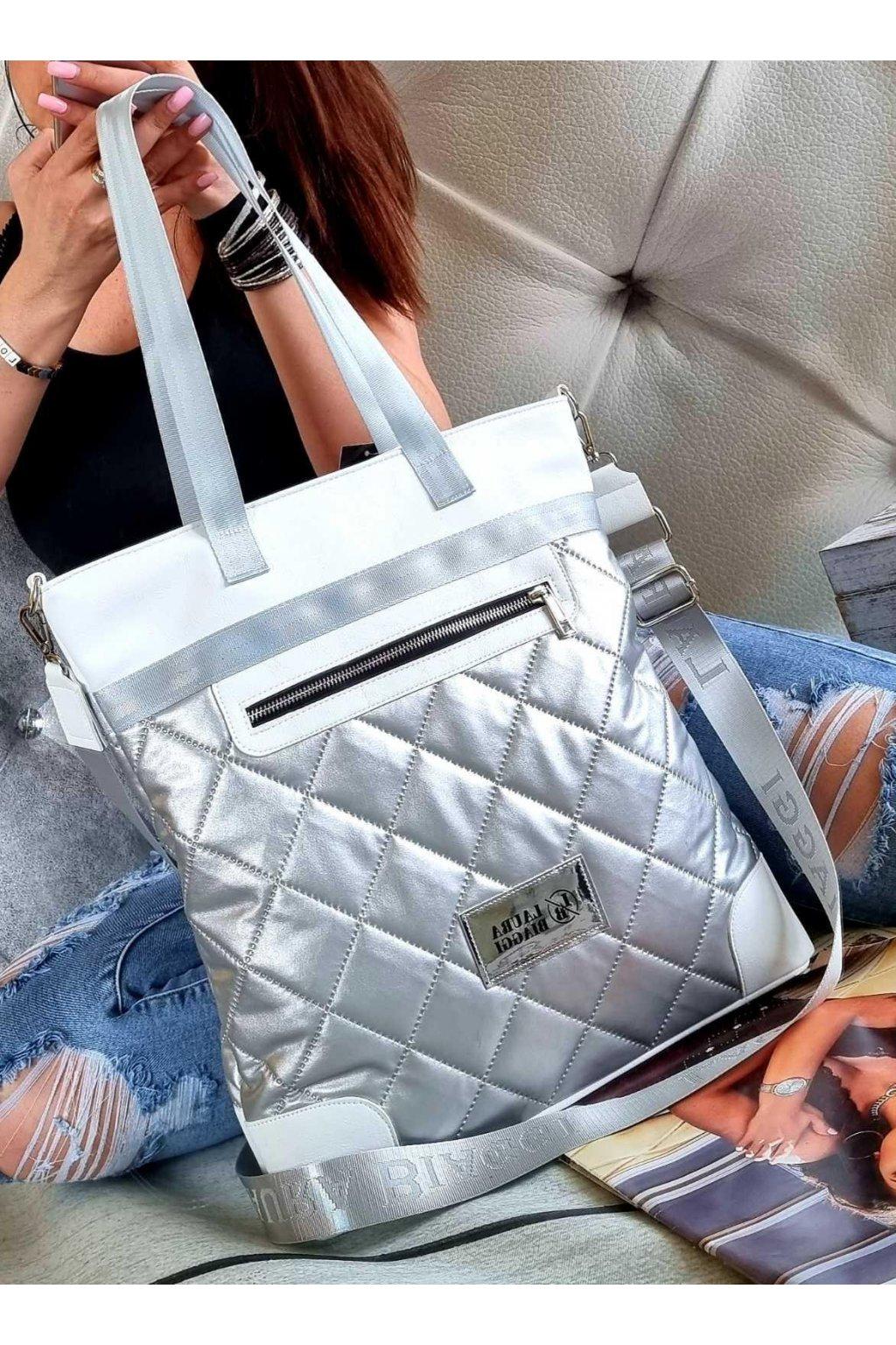 kabelka laura biaggi stříbrná trendy luxusní značková kabelka stylová sportovní