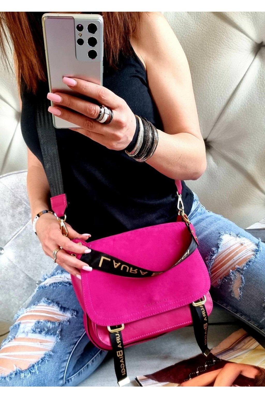 kabelka laura biaggi crossbody edition trendy luxusní značková kabelka stylová sportovní růžová pink