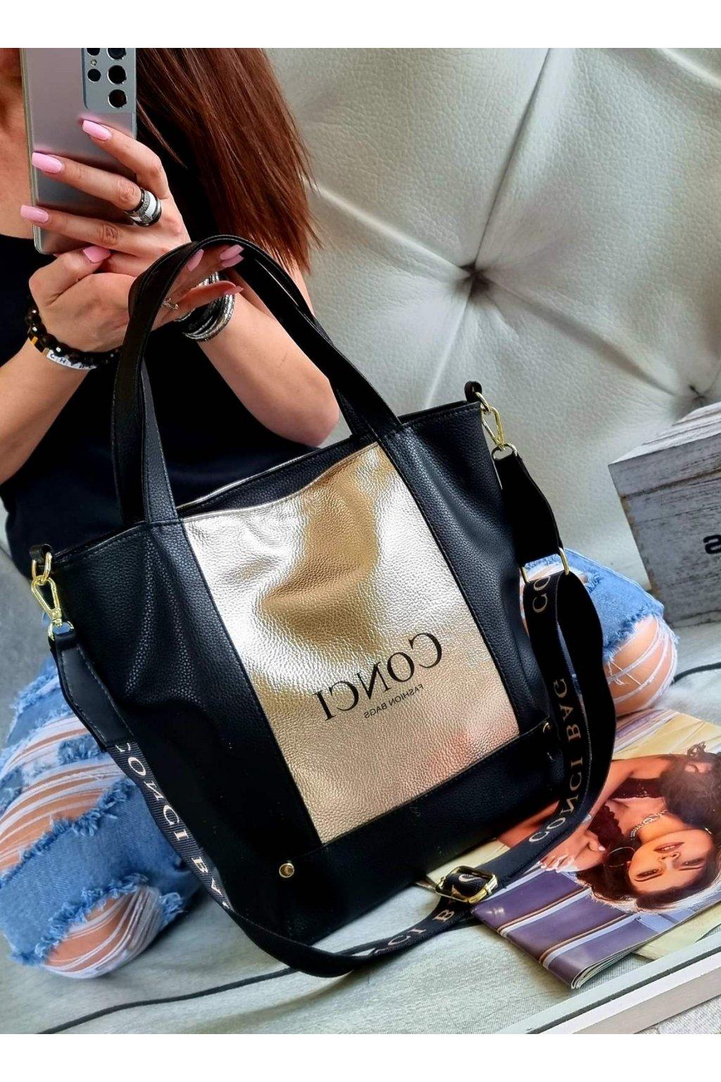 kabelka conci trendy luxusní značková kabelka stylová sportovní černo zlatá