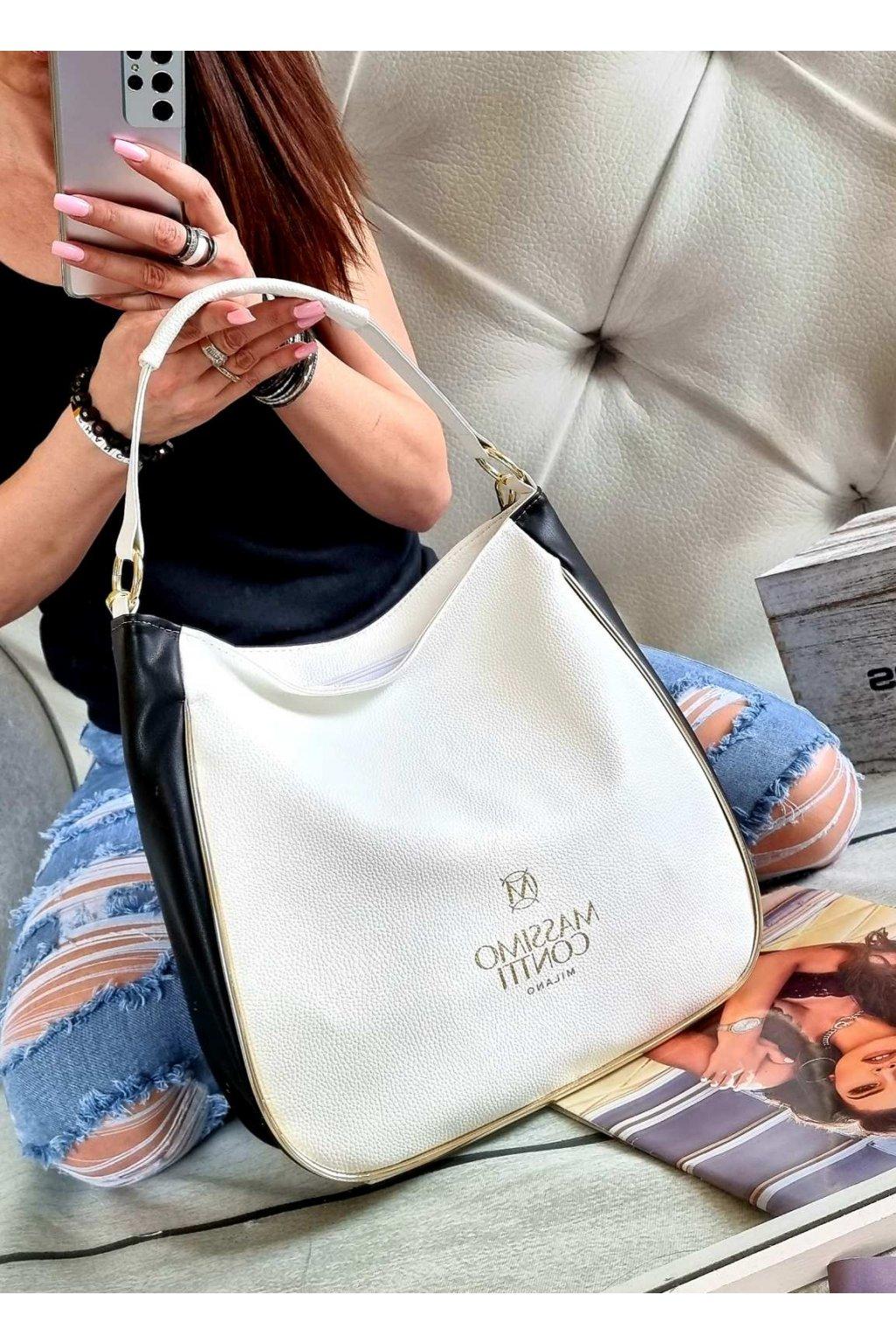 kabelka massimo contti bílá trendy luxusní značková kabelka stylová white